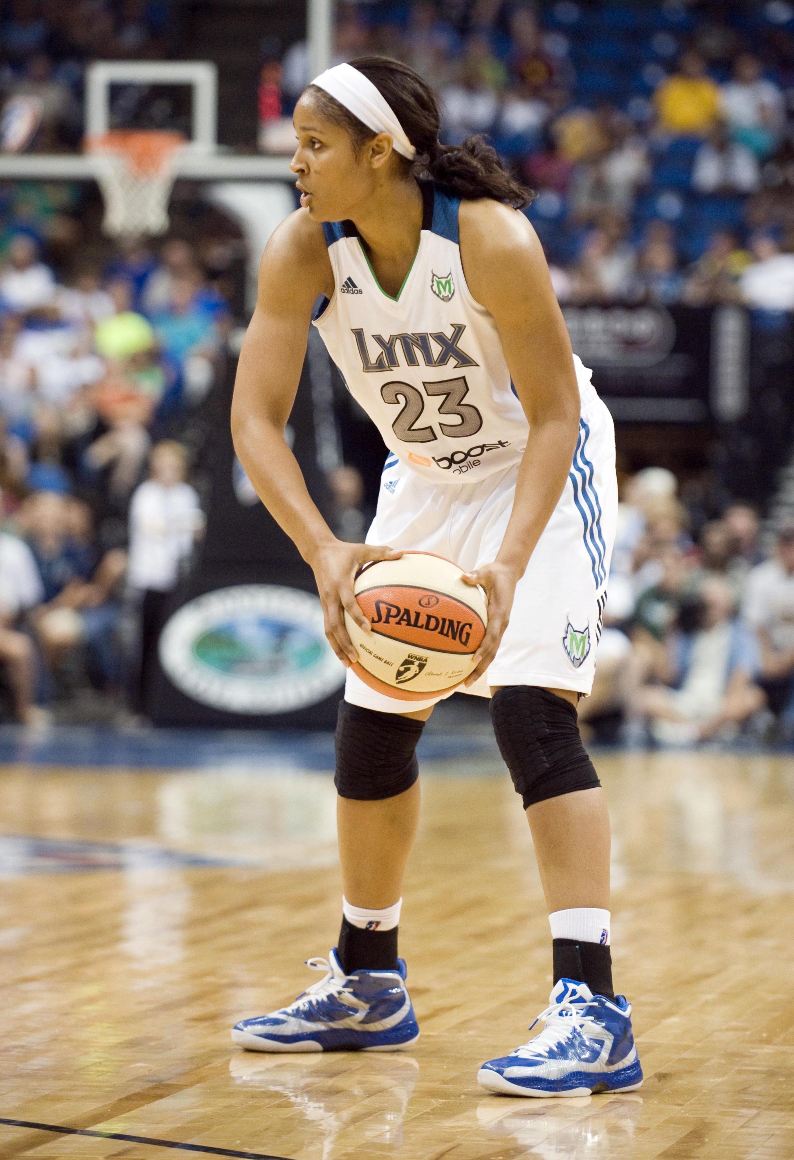 AUG 17, 2012; Minneapolis, MN, USA:  Minnesota Lynx forward Maya Moore (23) in the third quarter against the Washington Mystics at Target Center.  The Lynx defeated the Mystics 98-69.  Mandatory Credit: Marilyn Indahl-US PRESSWIRE