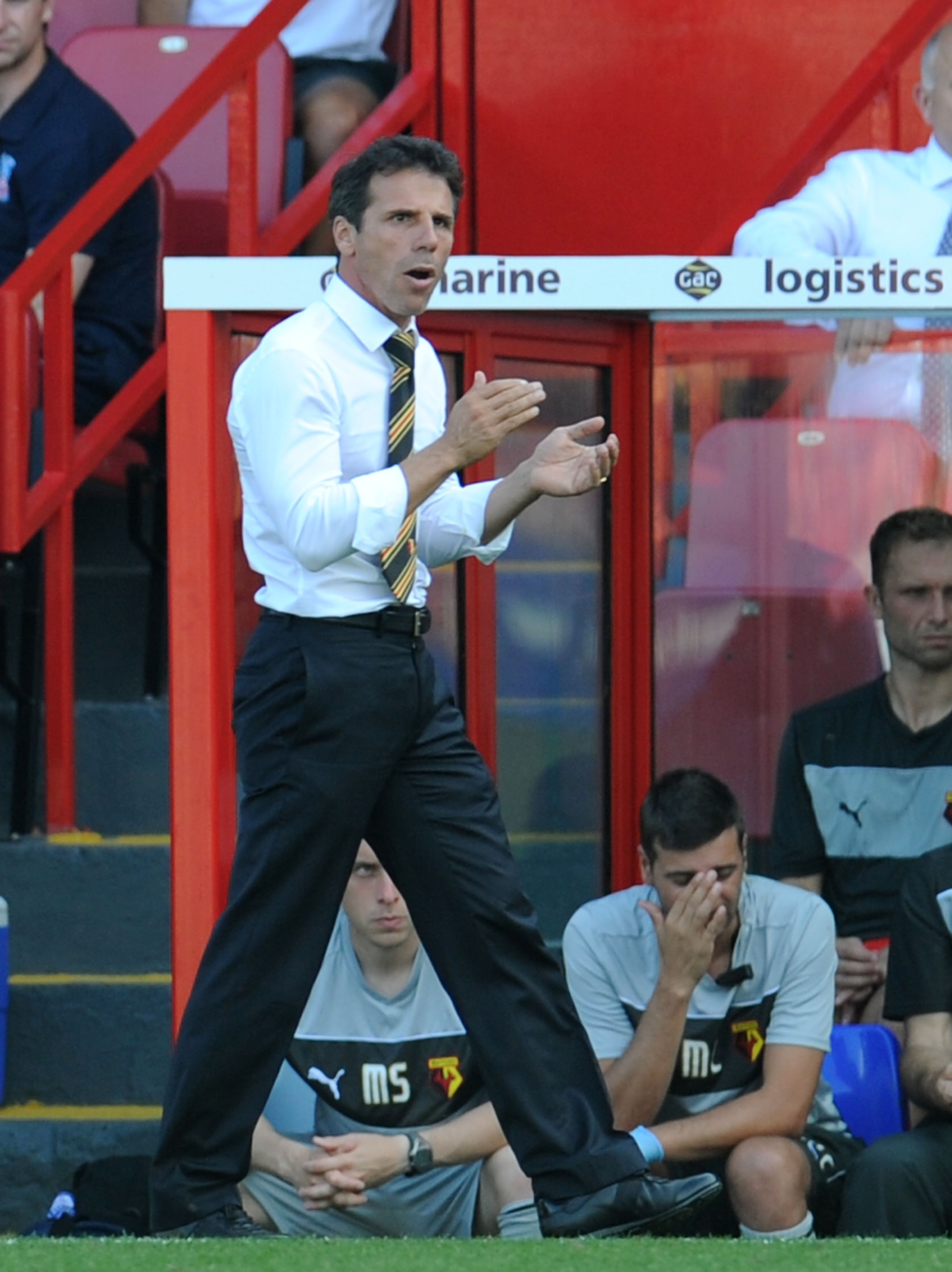 LONDON, ENGLAND - 18 AUGUST: Manager of Watford Gianfranco Zola during the npower Championship match between Crystal Palace and Watford at Selhurst Park on August 18, 2012 in London, England. (Photo by Tom Dulat/Getty Images)