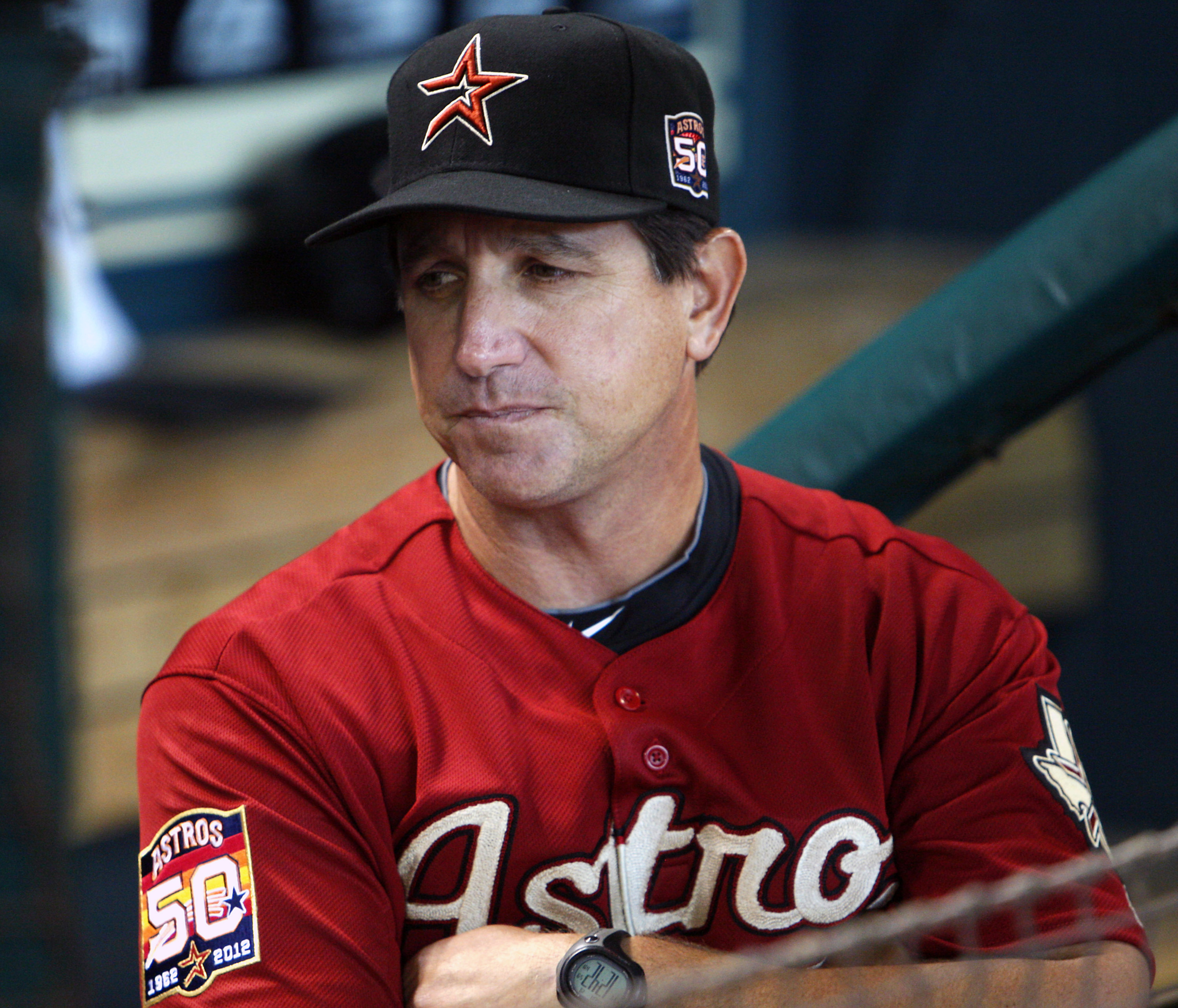 HOUSTON, TX - AUGUST 19:  Interim manager Tony DeFrancesco #11 makes his first appearance in an Astros uniform as he comes out of the lockeroom at Minute Maid Park on August 19, 2012 in Houston, Texas.  (Photo by Bob Levey/Getty Images)