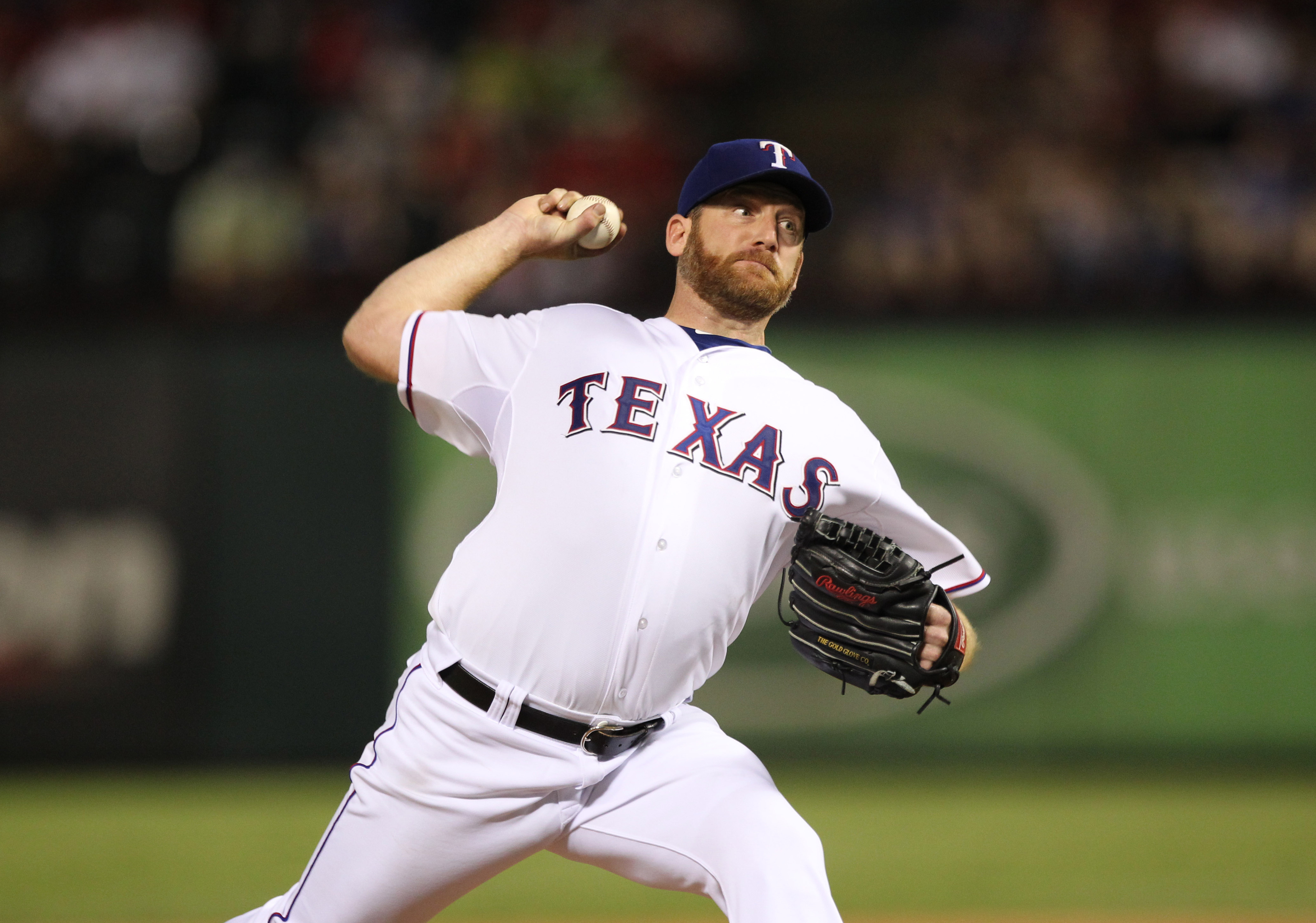 Aug 20, 2012; Arlington, TX, USA; Texas Rangers starting pitcher Ryan Dempster (46) pitches in the eighth inning against the Baltimore Orioles at Rangers Ballpark. The Rangers beat the Orioles 5-1. Mandatory Credit: Matthew Emmons-US PRESSWIRE