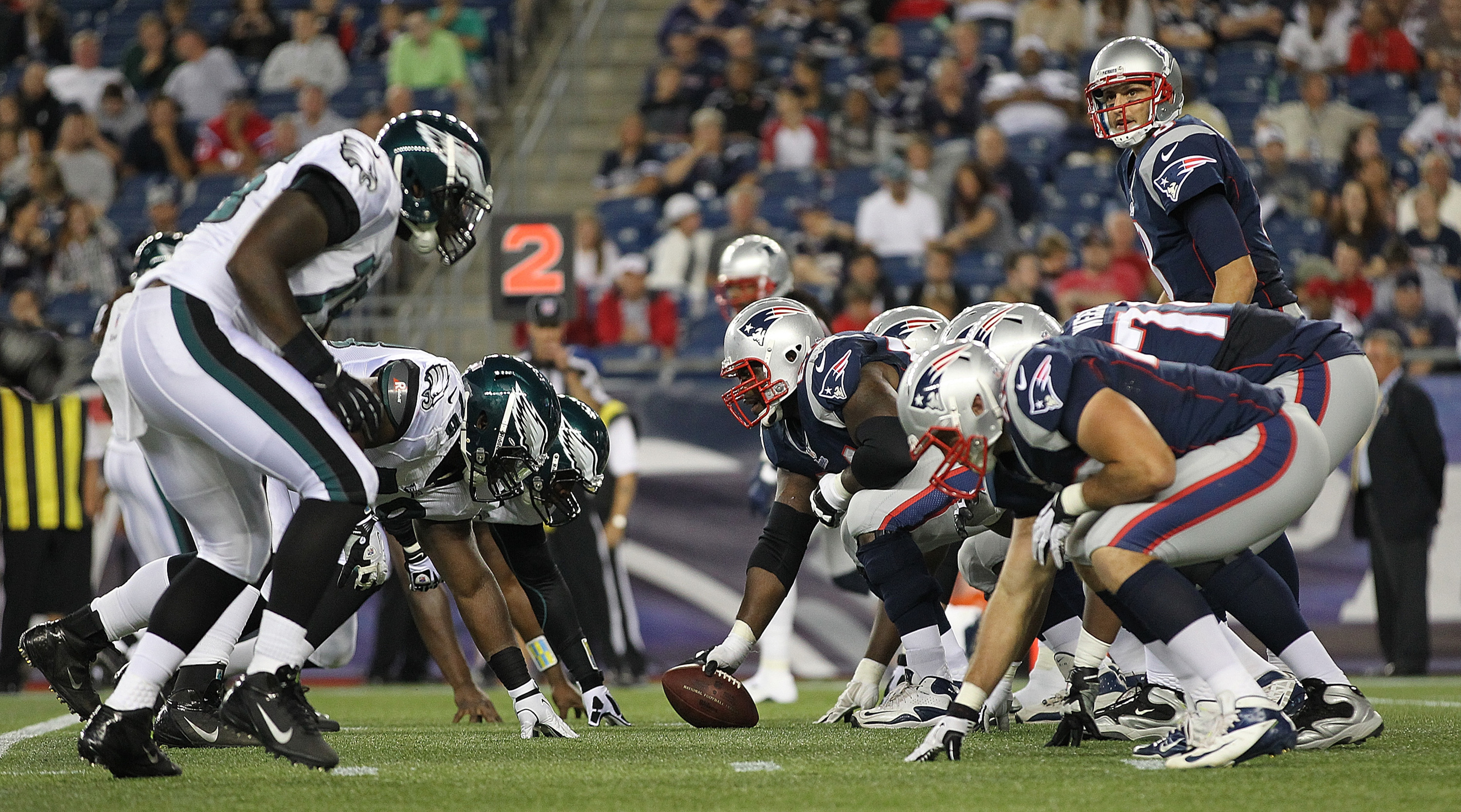 FOXBORO, MA - AUGUST 20:   The New England Patriots line up against the Philadelphia Eagles during a preseason game against the New England Patriots at Gillette Stadium on August  20, 2012 in Foxboro, Massachusetts. (Photo by Jim Rogash/Getty Images)
