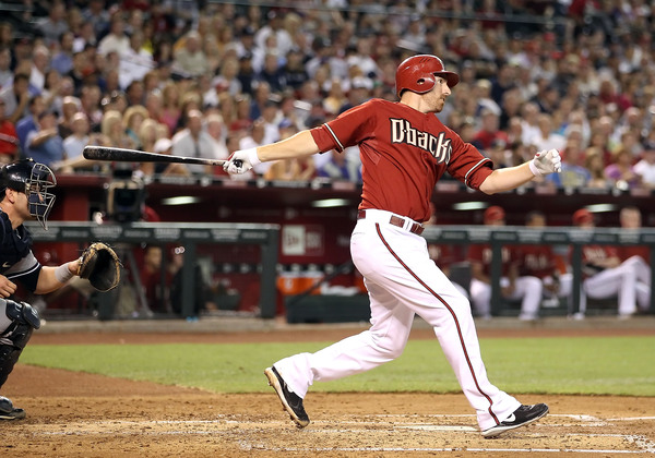 Adam LaRoche of the Arizona Diamondbacks drives in two runs with a single against the New York Yankees during the first inning at Chase Field on June 23, 2010 in Phoenix, Arizona.  (Photo by Christian Petersen/Getty Images)