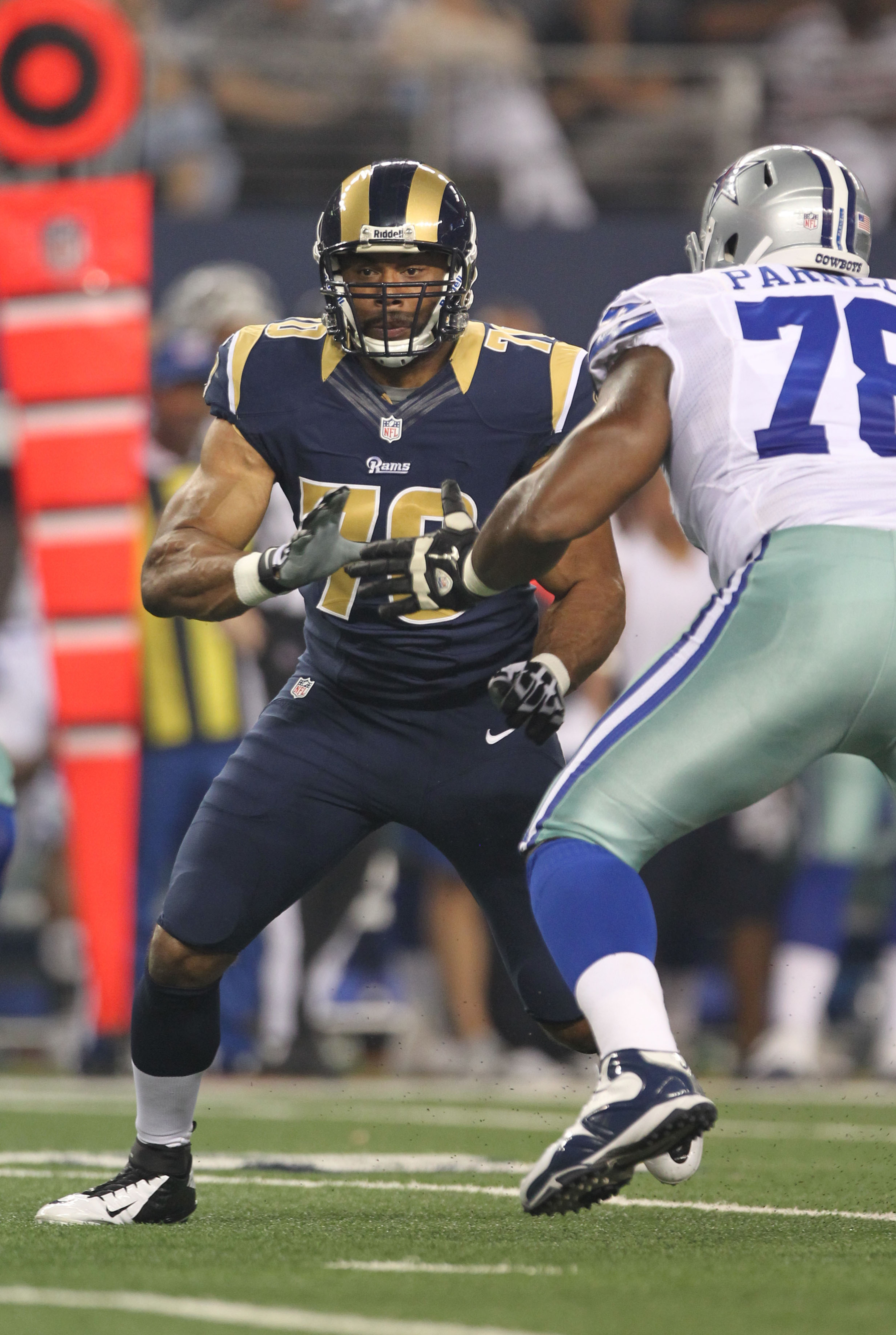 Aug 25, 2012; Arlington, TX, USA; St Louis Rams defensive end Vernon Gholston (70) in action in the second half against the Dallas Cowboys at Cowboys Stadium. Mandatory Credit: Matthew Emmons-US PRESSWIRE