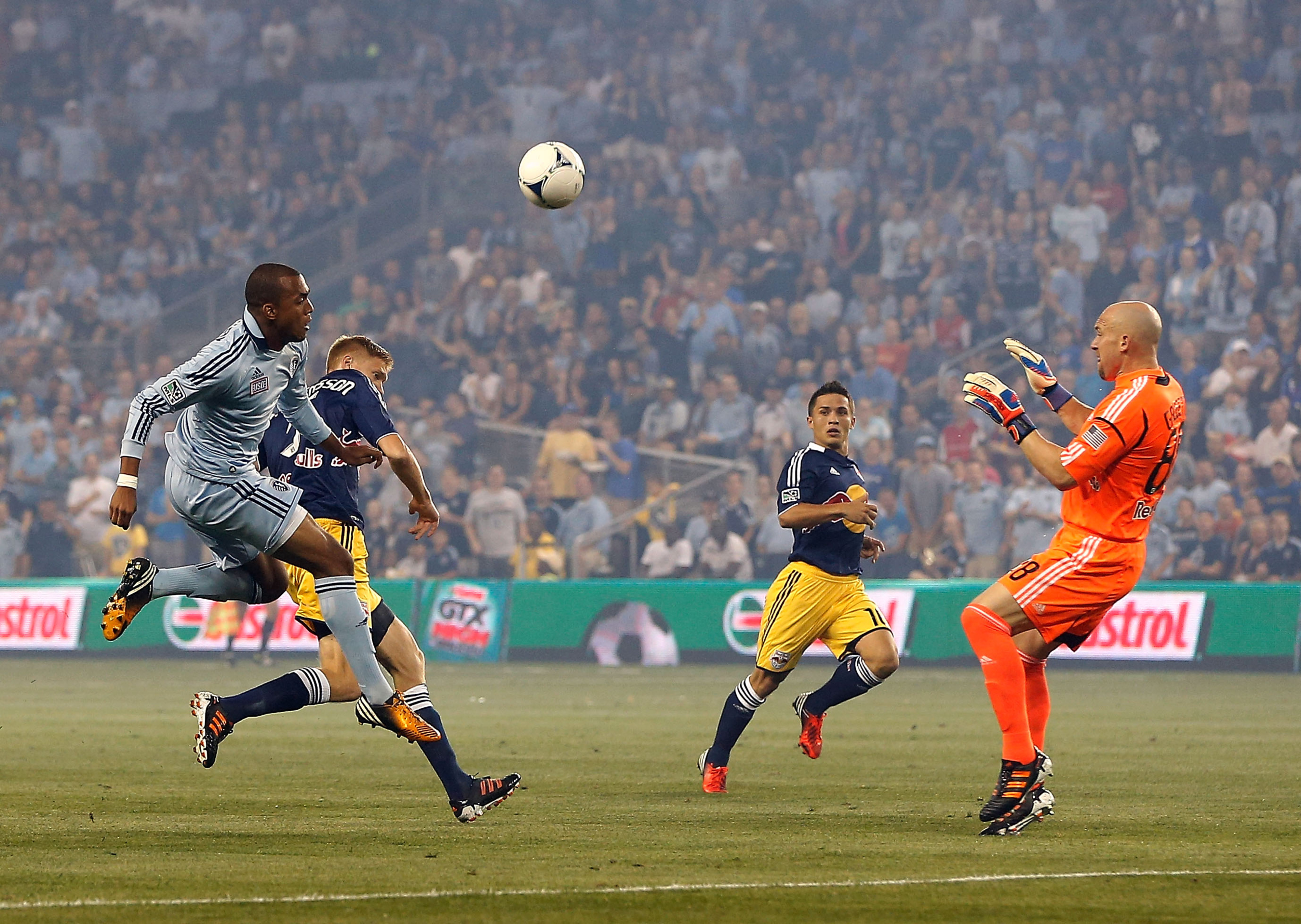 An in-form Teal Bunbury set up Kei Kamara for the match's opening goal.  Bunbury would leave the game in the 14th minute with a sprained knee. (Photo by Jamie Squire/Getty Images)