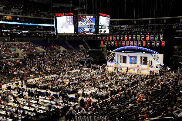 LOS ANGELES, CA - JUNE 25:  An overall view of the draft floor during the 2010 NHL Entry Draft at Staples Center on June 25, 2010 in Los Angeles, California.  (Photo by Jeff Gross/Getty Images)