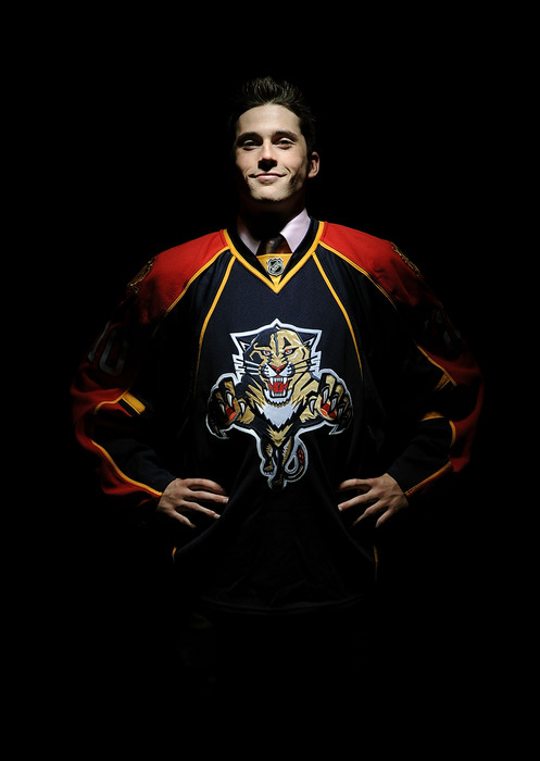LOS ANGELES, CA - JUNE 25:  Eric Gudbranson, drafted third overall by the Florida Panthers, poses for a portrait during the 2010 NHL Entry Draft at Staples Center on June 25, 2010 in Los Angeles, California.  (Photo by Harry How/Getty Images)
