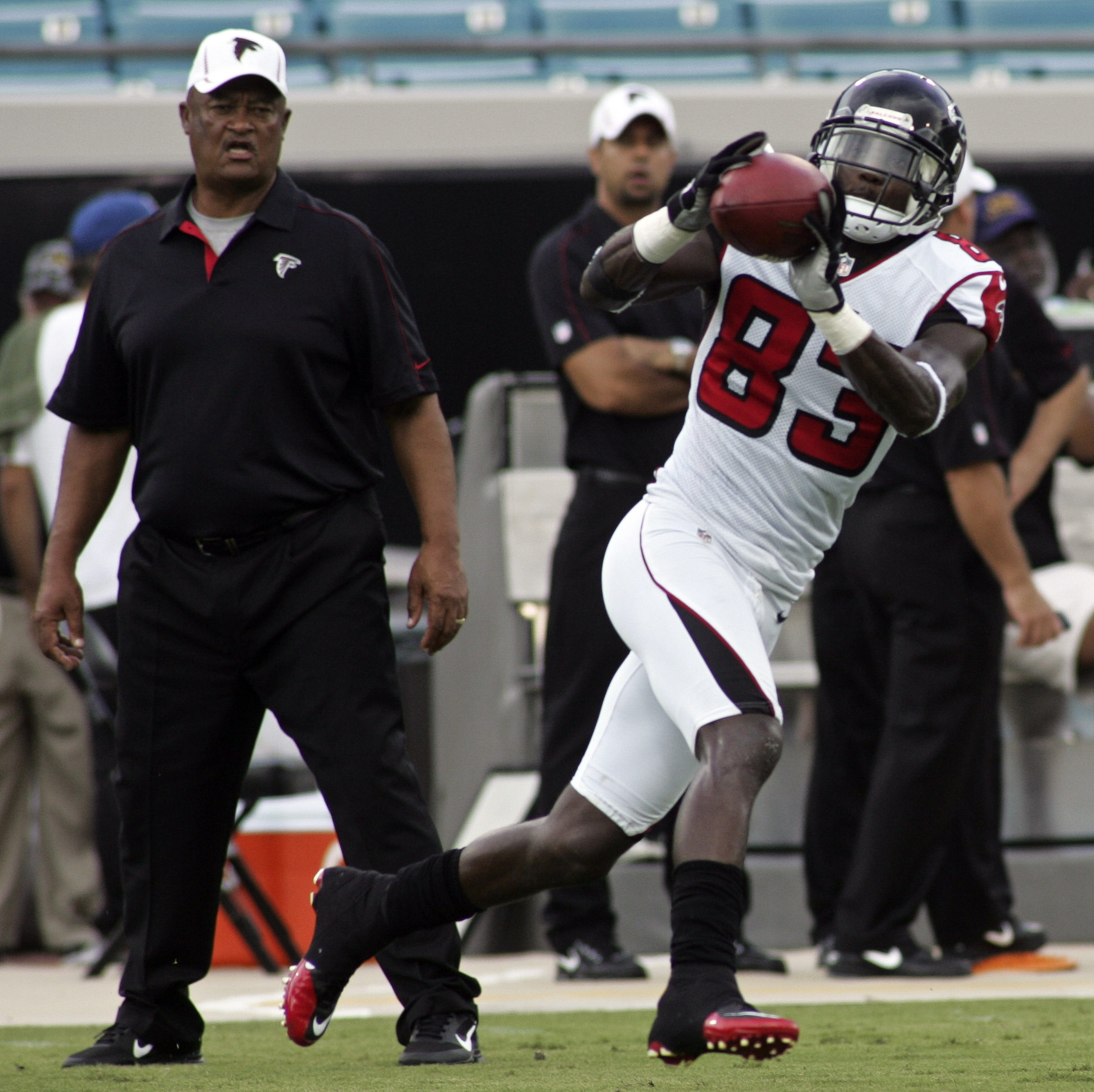 August 30, 2012; Jacksonville FL, USA; Atlanta Falcons wide receiver Harry Douglas (83) catches a pass before the start of their game against the Jacksonville Jaguars at EverBank Field. Mandatory Credit: Phil Sears-US PRESSWIRE