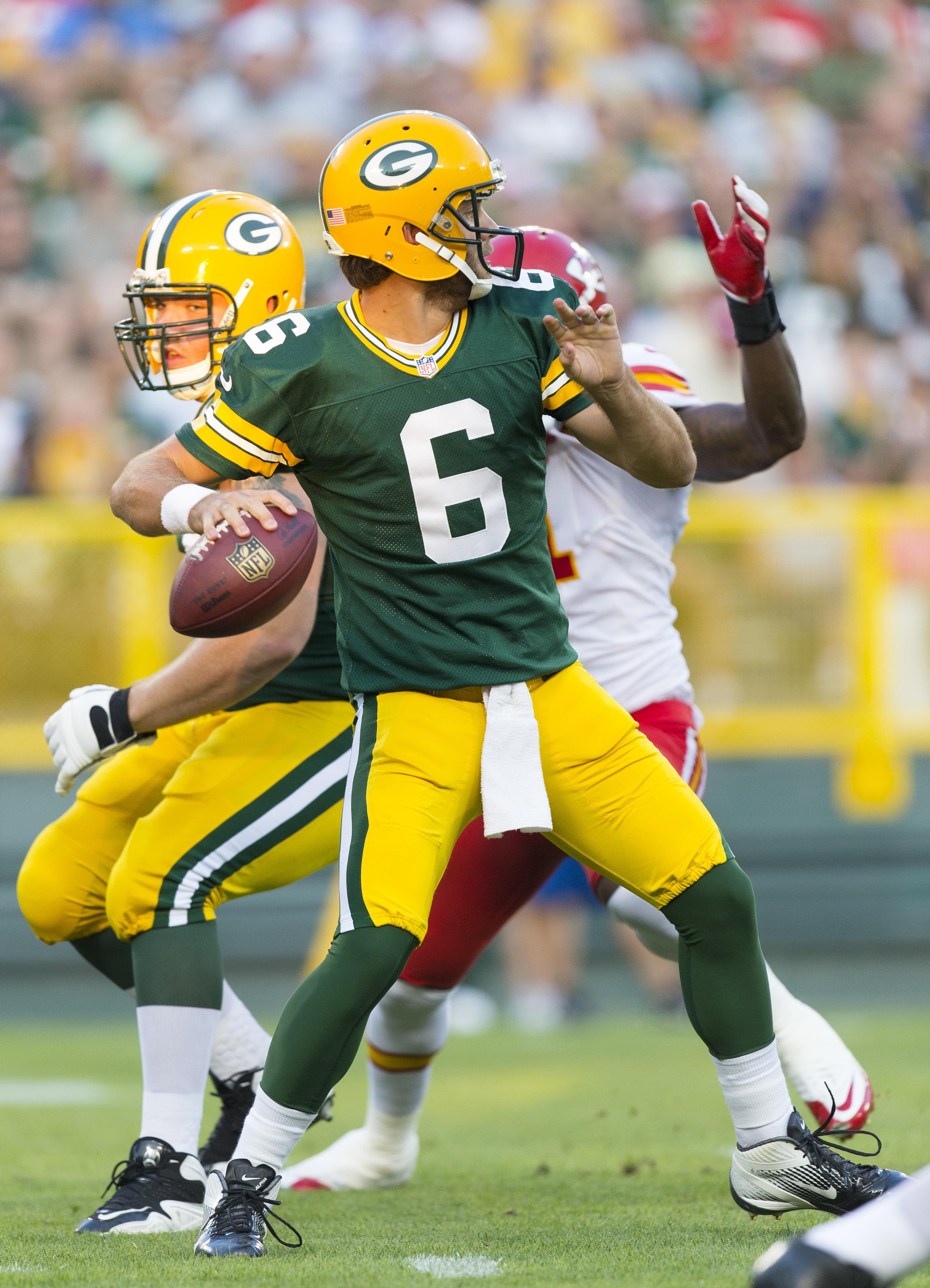 Aug 30, 2012; Green Bay, WI, USA; Green Bay Packers quarterback Graham Harrell (6) throws a pass during the second quarter against the Kansas City Chiefs at Lambeau Field.  Mandatory Credit: Jeff Hanisch-US PRESSWIRE