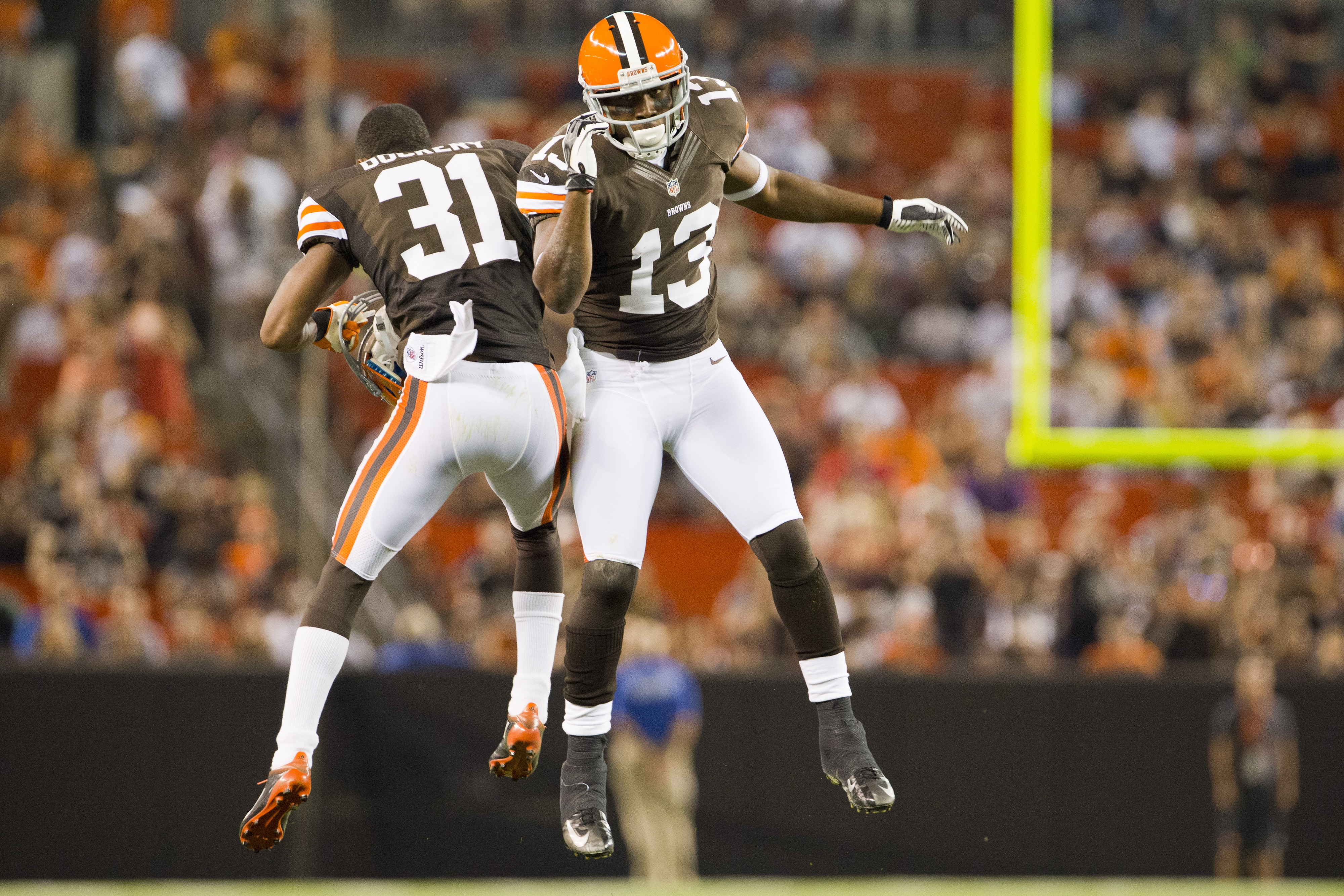 CB James Dockery (#31) and WR Rod Windsor (#13) celebrate after a Cleveland Browns touchdown in the team's final preseason game against the Bears. With both guys being bubble players, did they do enough to warrant a spot on the final roster?