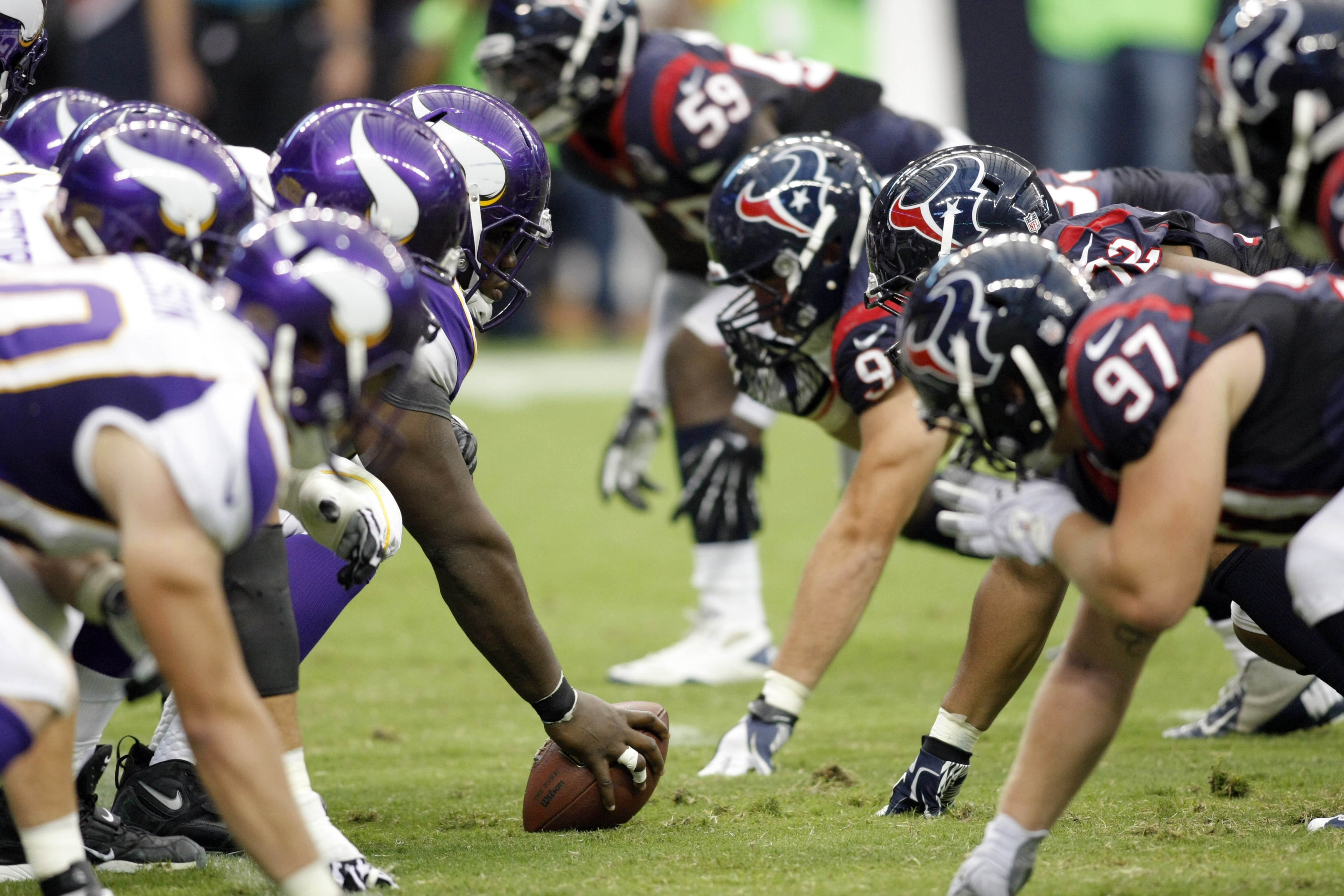Aug 30, 2012; Houston, TX, USA; General view of the line of scrimmage during a game between the Houston Texans and Minnesota Vikings in the second quarter at Reliant Stadium. Mandatory Credit: Brett Davis-US PRESSWIRE