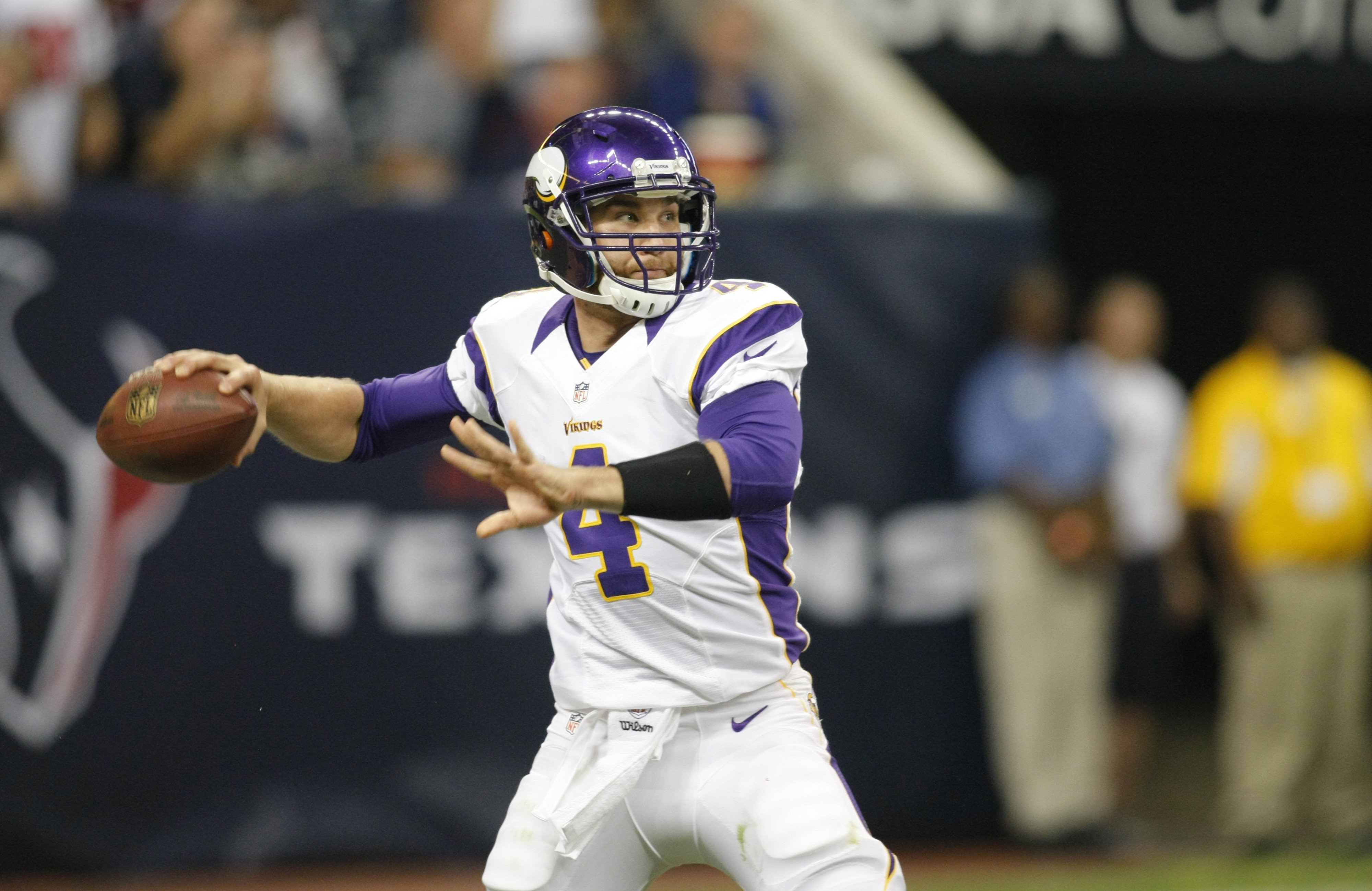 The Vikings thought enough of McLeod Bethel-Thompson to keep him on the 53-man roster, electing to cut veteran Sage Rosenfels instead. (Mandatory Credit: Brett Davis-US PRESSWIRE)