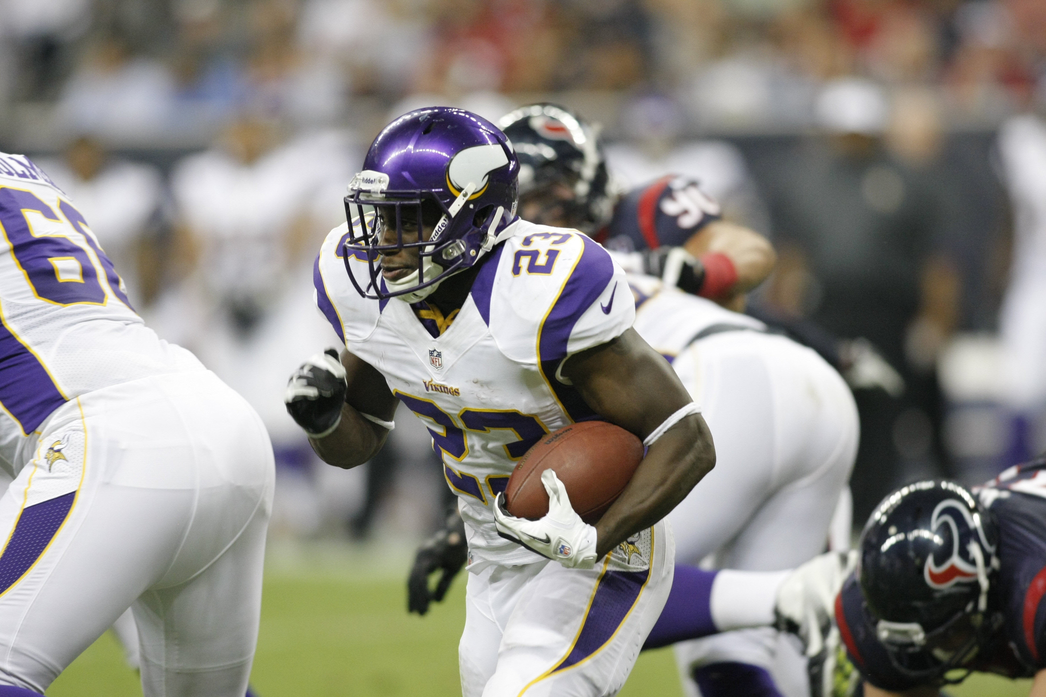 Running back Jordan Todman, and others, will learn in the next few hours whether or not they've made the Vikings' final 53-man roster. (Mandatory Credit: Brett Davis-US PRESSWIRE)