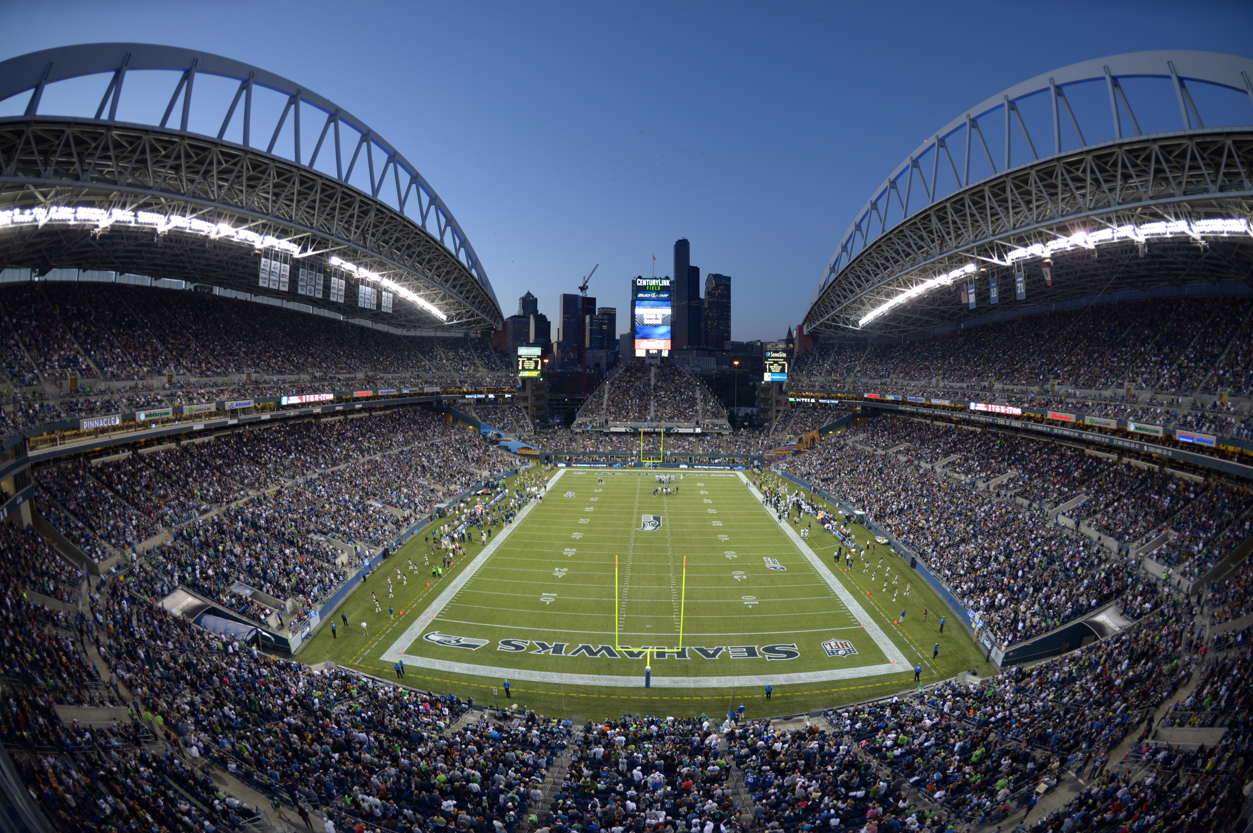 Aug 30, 2012; Seattle, WA, USA; General view of CenturyLink Field and the downtown Seattle skyline during the NFL game between the Oakland Raiders and Seattle Seahawks. Mandatory Credit: Kirby Lee/Image of Sport-US PRESSWIRE