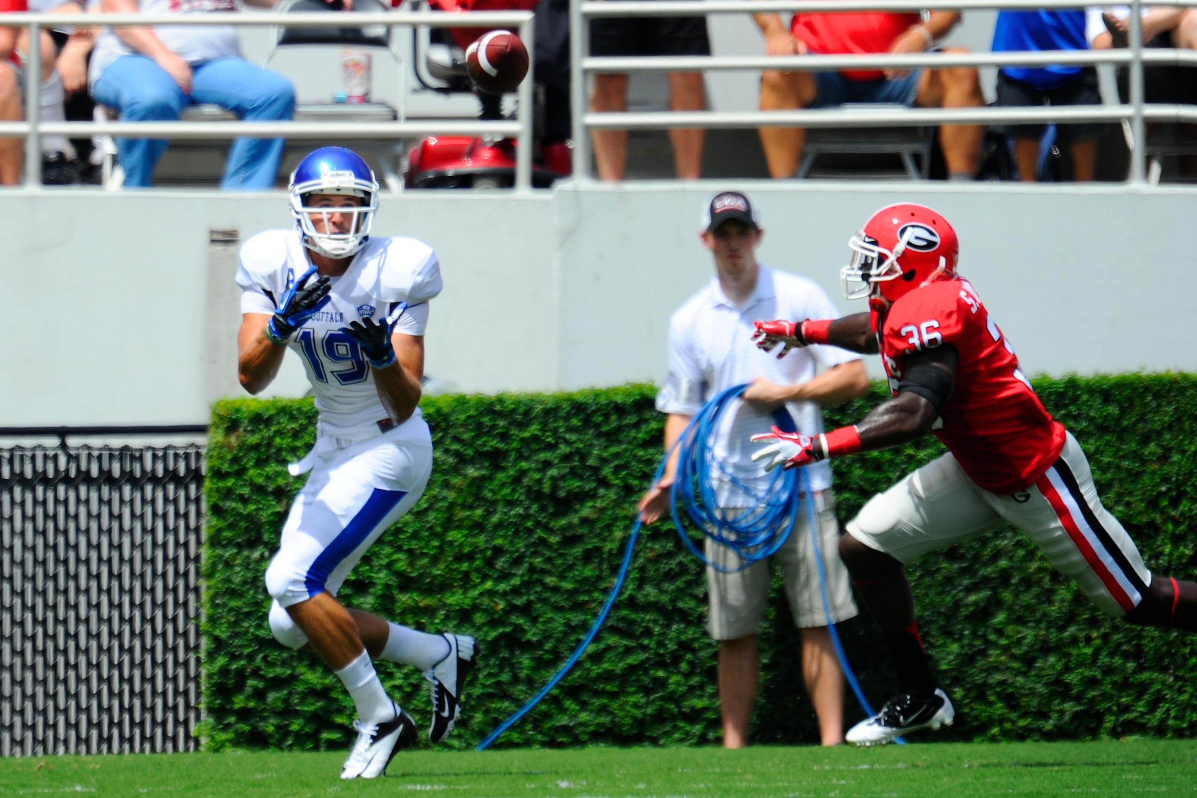 I plan on catching many touchdowns this week!    Mandatory Credit: Dale Zanine-US PRESSWIRE