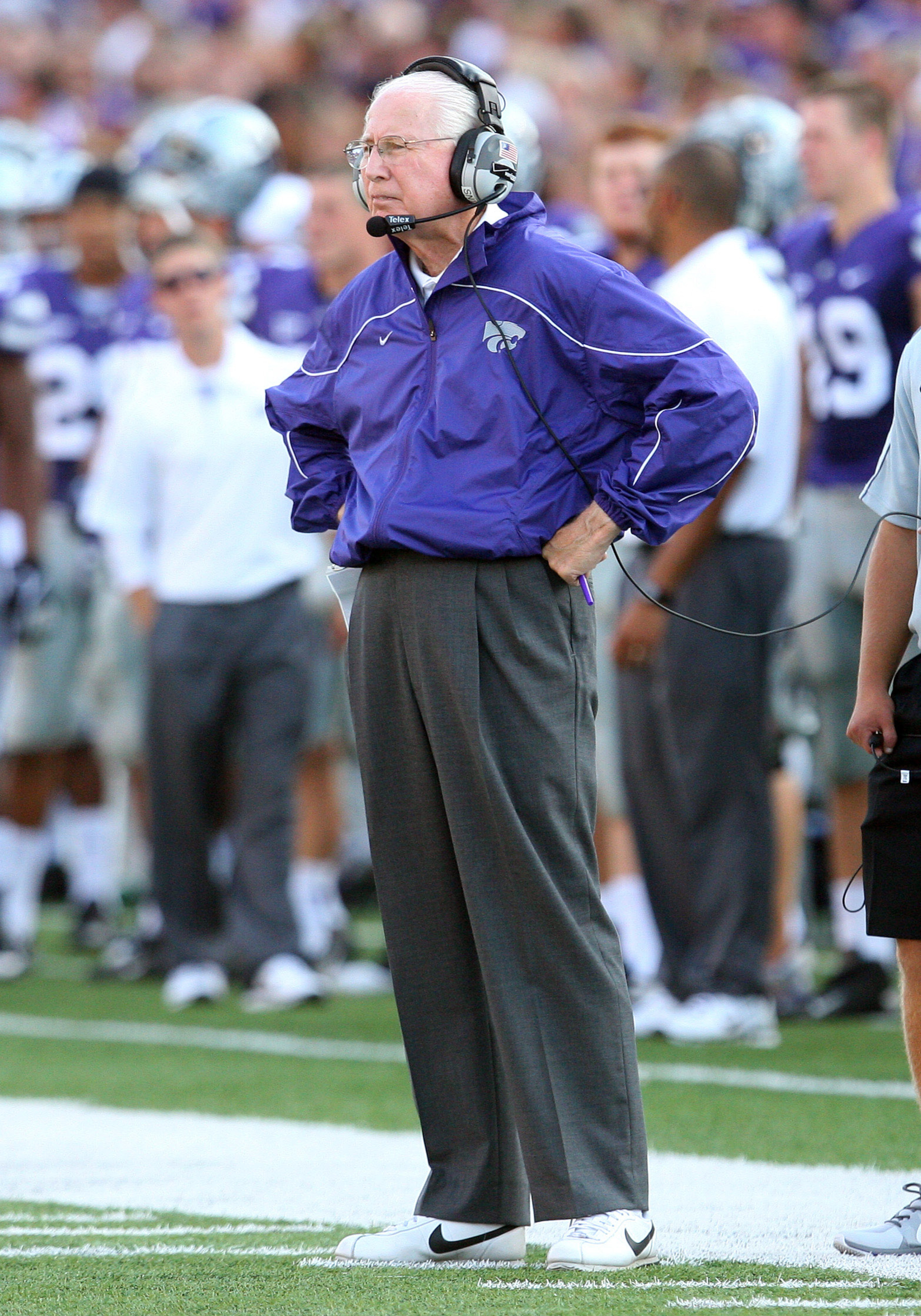 Sep 1, 2012; Manhattan, KS, USA; Kansas State Wildcats head coach Bill Snyder waits for a call from the officials during the first quarter against the Missouri State Bears at Bill Snyder Family Stadium. Mandatory Credit: Scott Sewell-US PRESSWIRE
