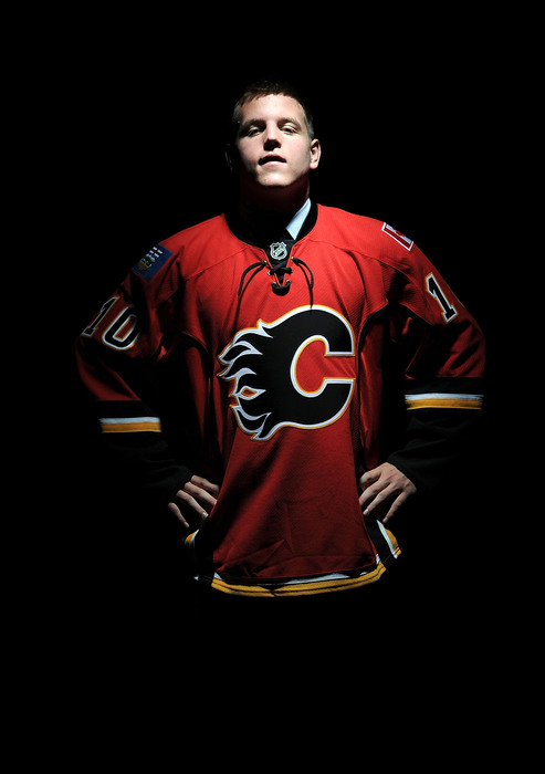 LOS ANGELES, CA - JUNE 26:  Bill Arnold, drafted in the fourth round by the Calgary Flames, poses for a portrait during the 2010 NHL Entry Draft at Staples Center on June 26, 2010 in Los Angeles, California.  (Photo by Harry How/Getty Images)