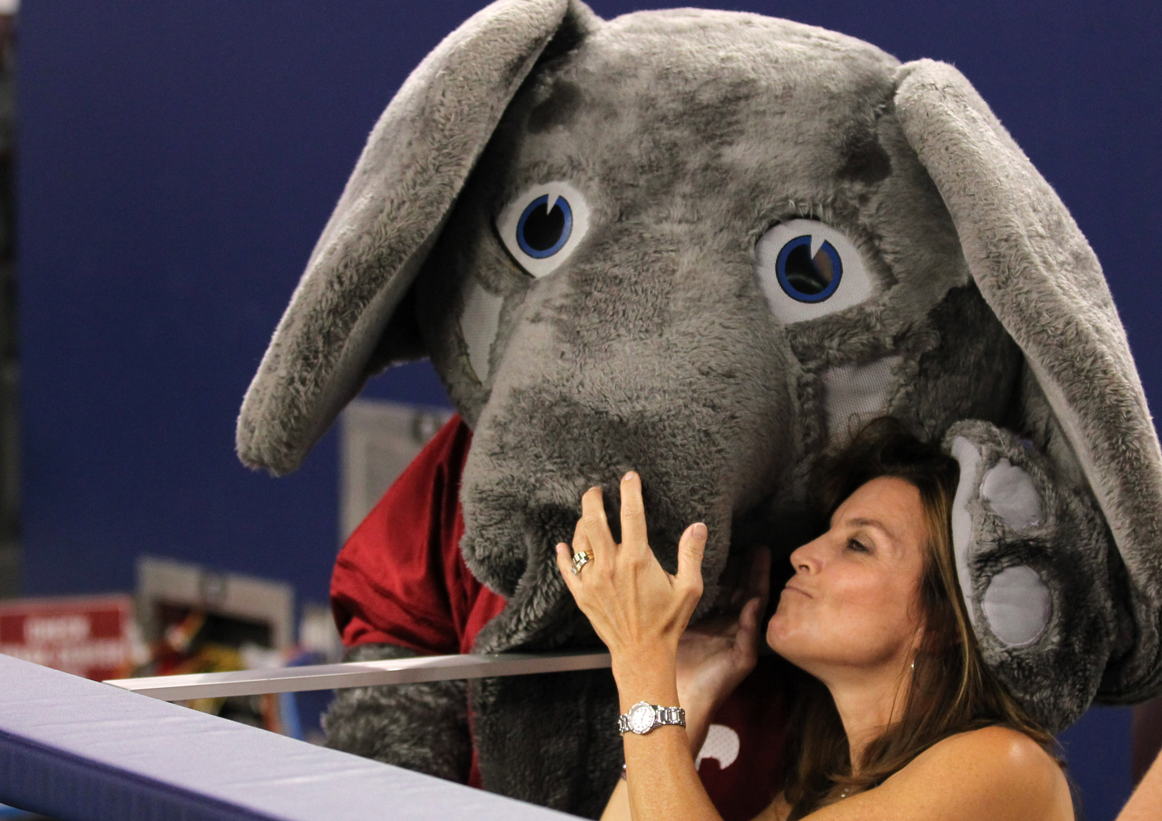 Sep 1, 2012; Arlington, TX, USA; Alabama Crimson Tide mascot Big Al plays with a fan during the game against the Michigan Wolverines at Cowboys Stadium. Mandatory Credit: Matthew Emmons-US PRESSWIRE