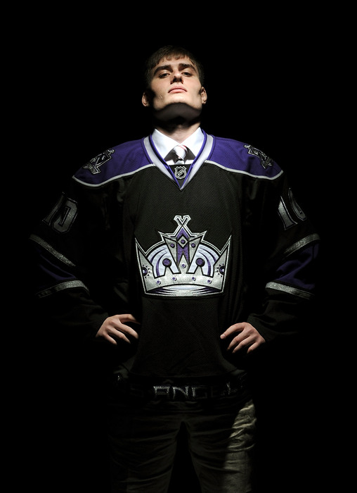 LOS ANGELES, CA - JUNE 26:  Maxim Kitsyn, drafted in the sixth round by the Los Angeles Kings, poses for a portrait during the 2010 NHL Entry Draft at Staples Center on June 26, 2010 in Los Angeles, California.  (Photo by Harry How/Getty Images)