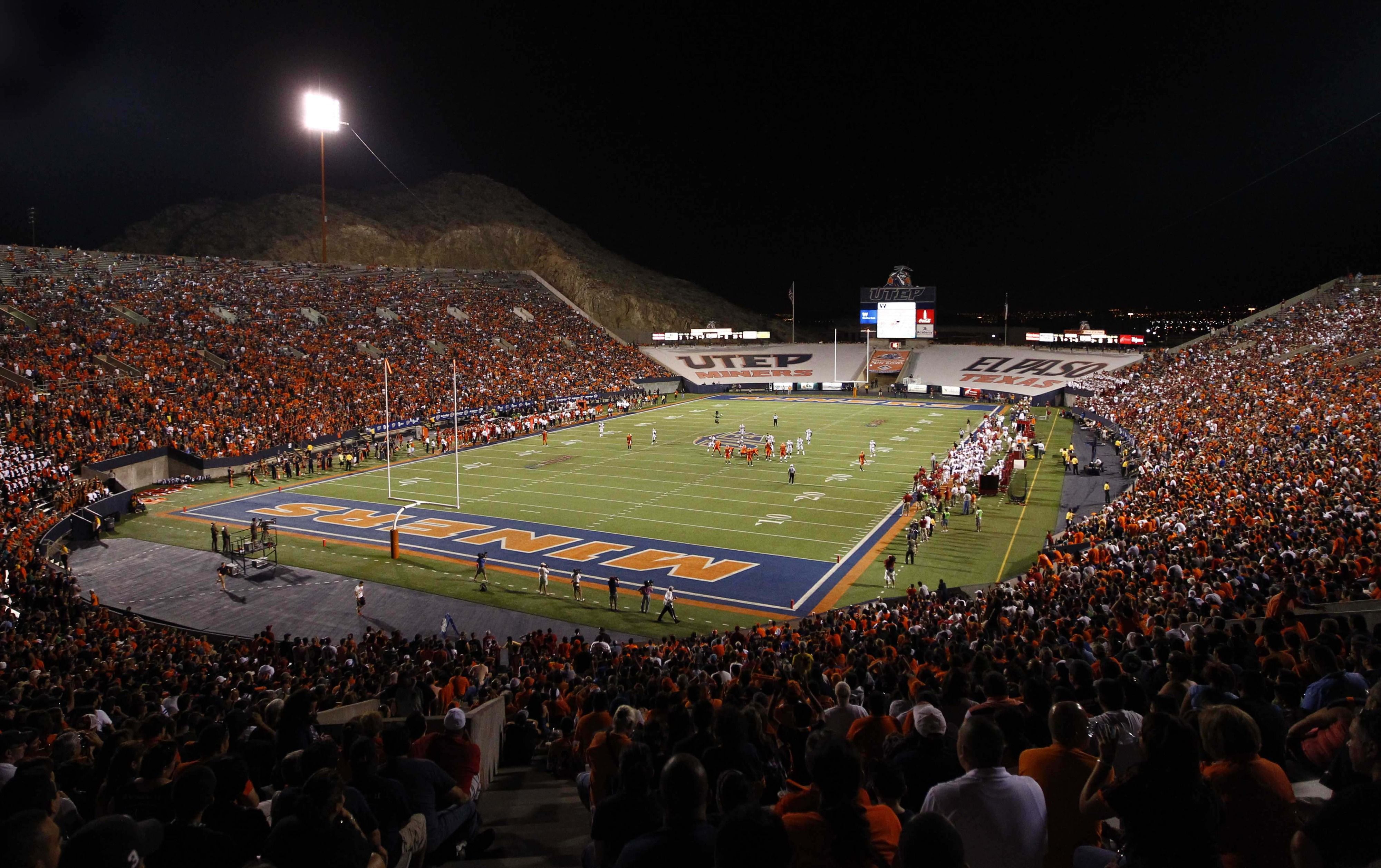 September 1, 2012; Dallas, TX, USA; A general view of the Sun Bowl Stadium during the football game between UTEP Miners and Oklahoma Sooners. Oklahoma won 24-7. Mandatory Credit: Jim Cowsert-US PRESSWIRE