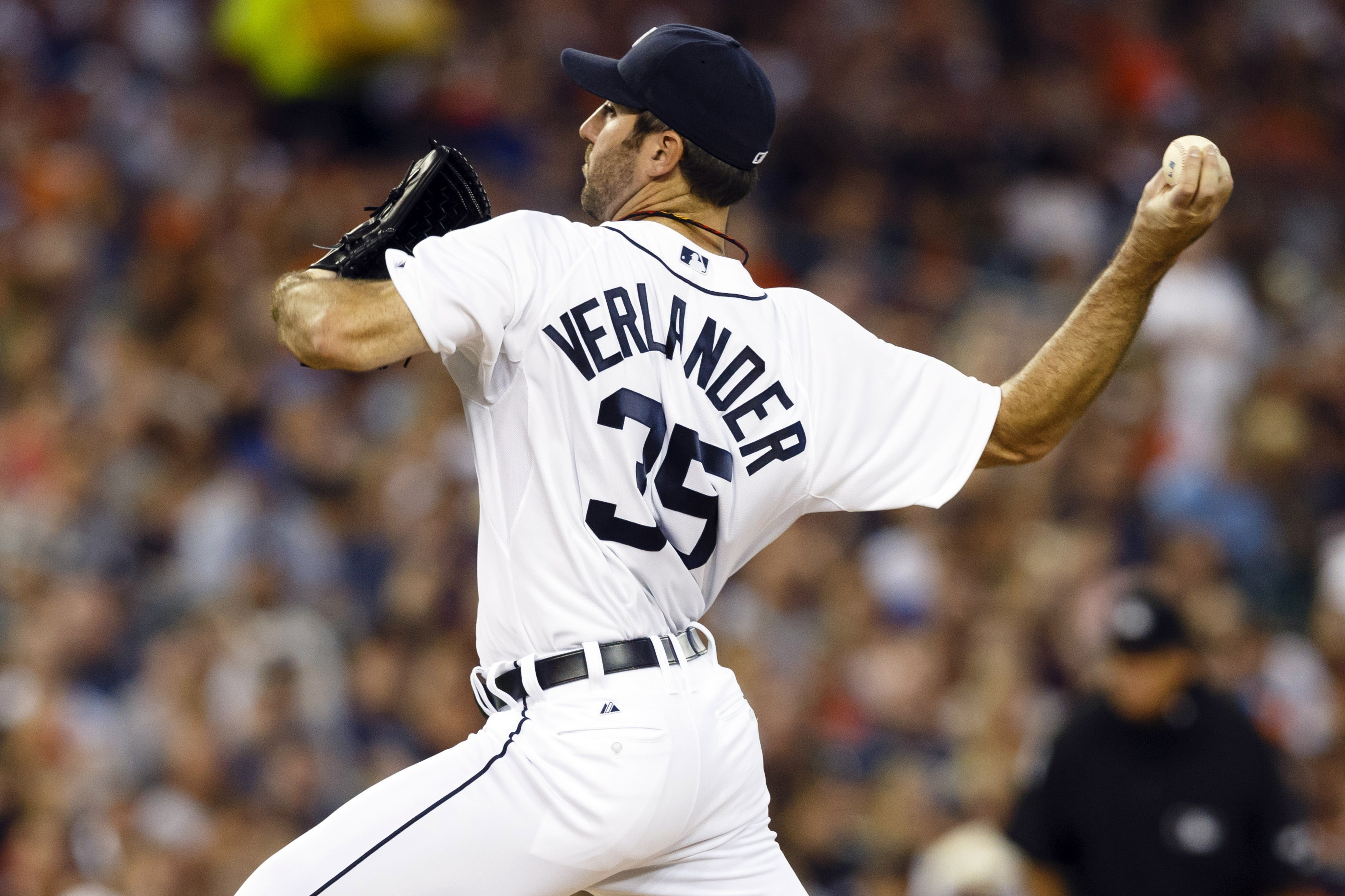 September 2, 2012; Detroit, MI, USA; Detroit Tigers starting pitcher Justin Verlander (35) pitches during the first inning against the Chicago White Sox at Comerica Park. Mandatory Credit: Rick Osentoski-US PRESSWIRE