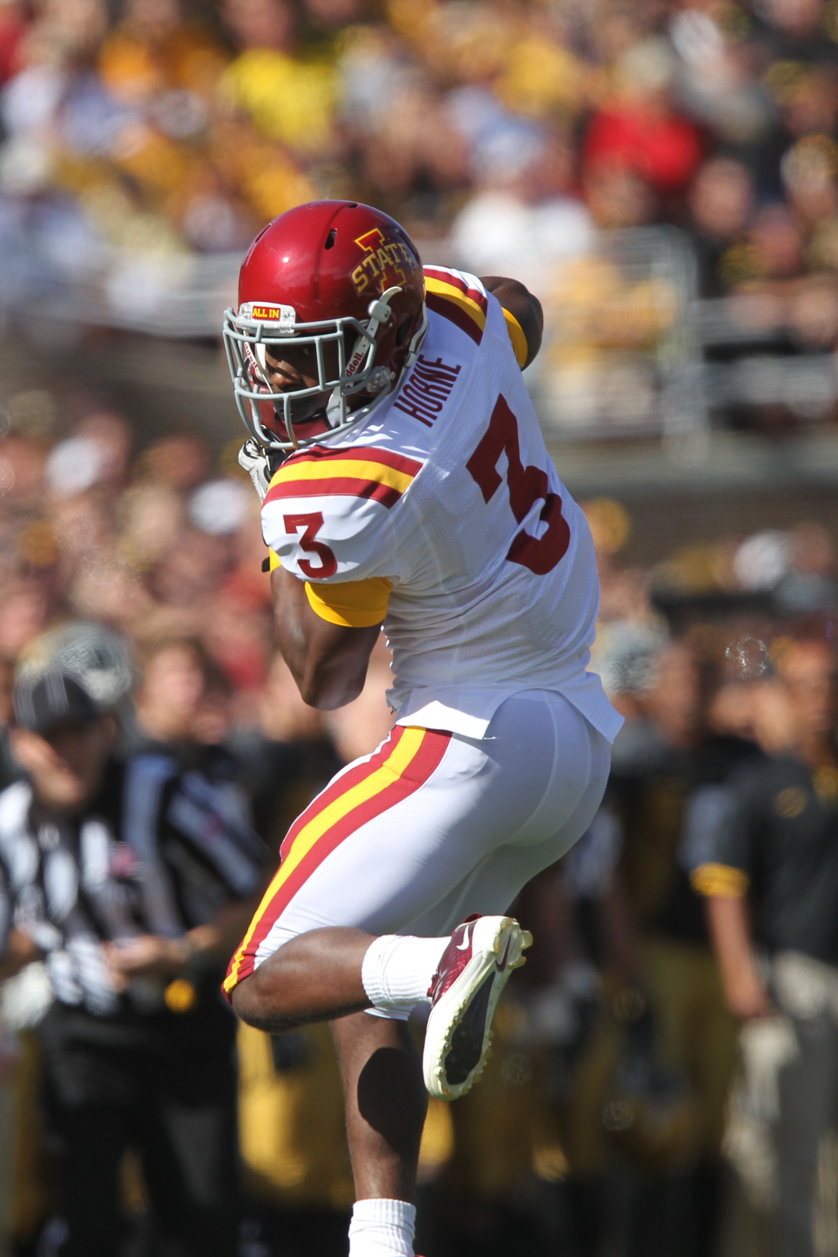 September 8, 2012; Iowa City, IA, USA; Iowa State Cyclones wide receiver Aaron Horne (3) catches a pass against the Iowa Hawkeyes in the second quarter at Kinnick Stadium. Mandatory Credit: Reese Strickland-US PRESSWIRE