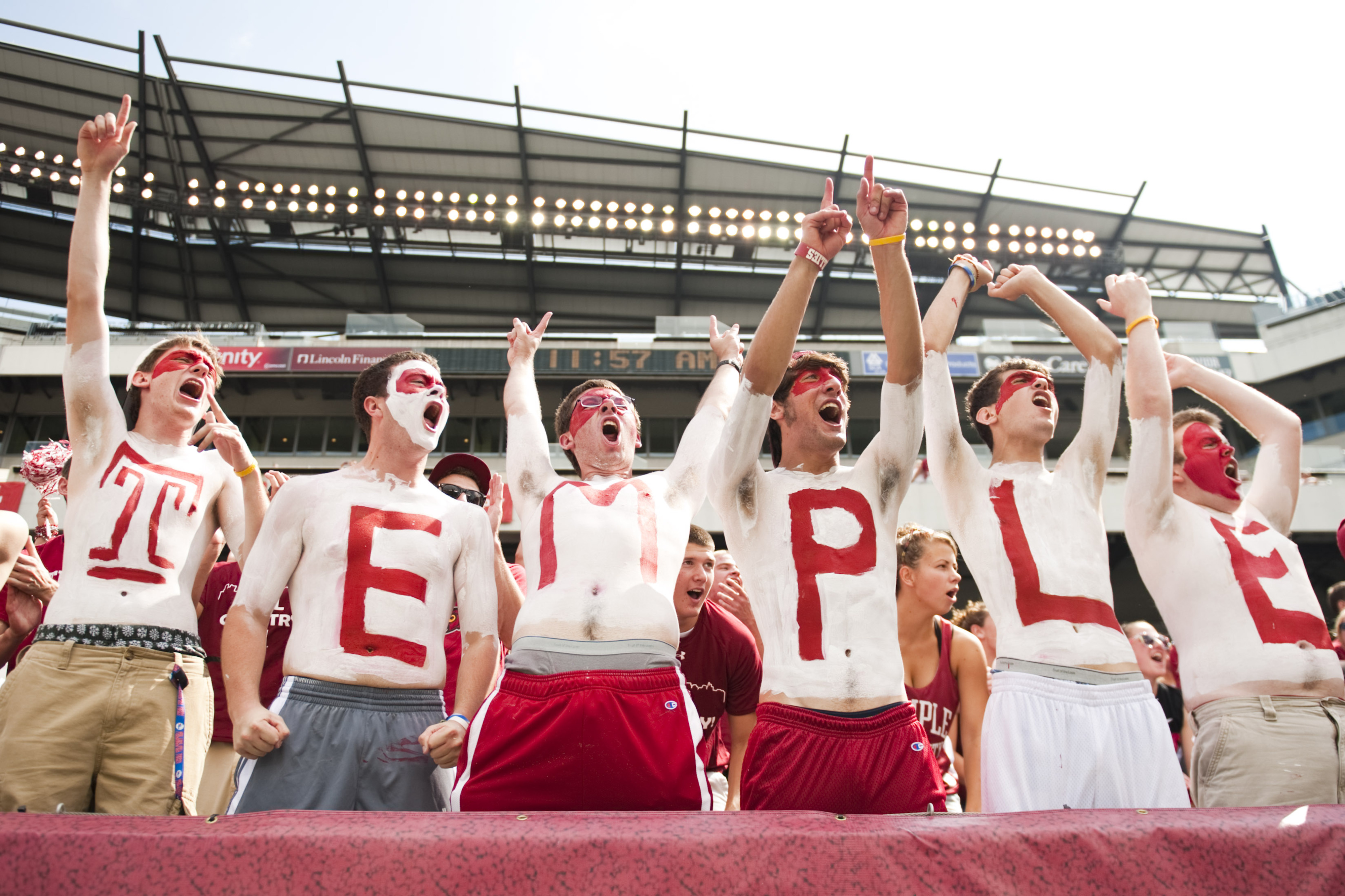 Sep 08, 2012; Philadelphia, PA, USA; Temple Owls fans prior to playing the Maryland Terrapins at Lincoln Financial Field. Maryland defeated Temple 36-27. Mandatory Credit: Howard Smith-US PRESSWIRE