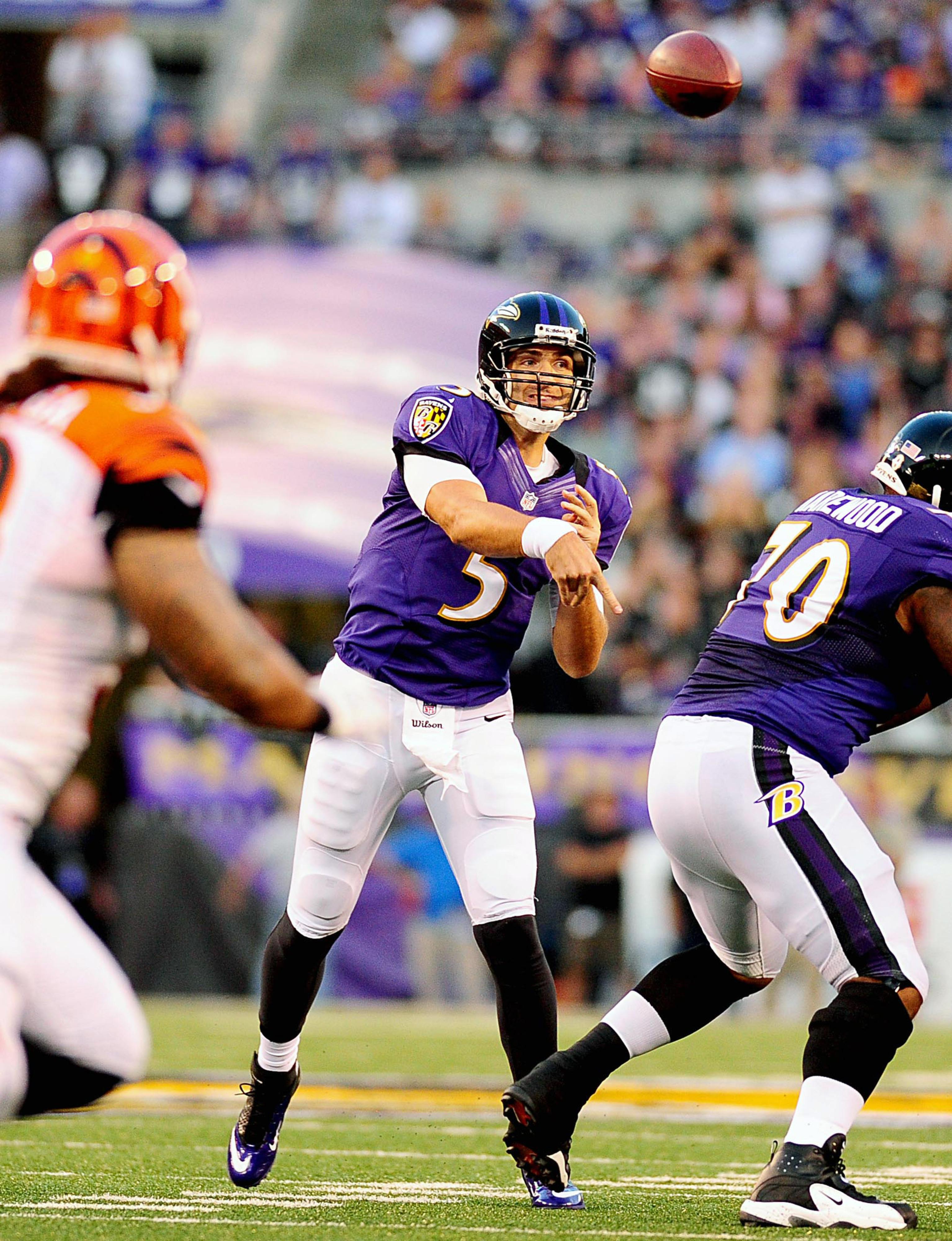 September 10, 2012; Baltimore, MD, USA; Baltimore Ravens quarterback Joe Flacco (5) throws a pass during the game against the Cincinnati Bengals at M&T Bank Stadium. Mandatory Credit: Evan Habeeb-US PRESSWIRE