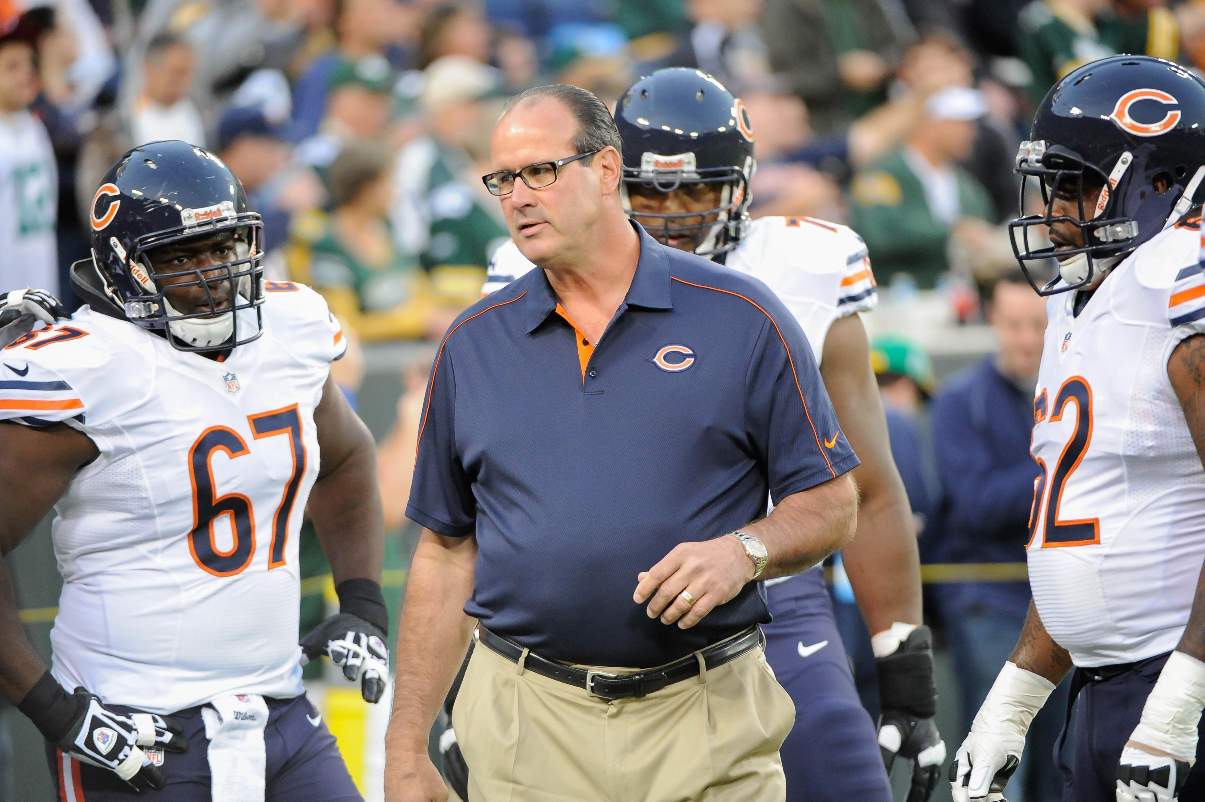 Sept 13, 2012; Green Bay, WI, USA;   Chicago Bears offensive coordinator Mike Tice gets the offensive line ready before the game against the Green Bay Packers at Lambeau Field.  Mandatory Credit: Benny Sieu-US PRESSWIRE