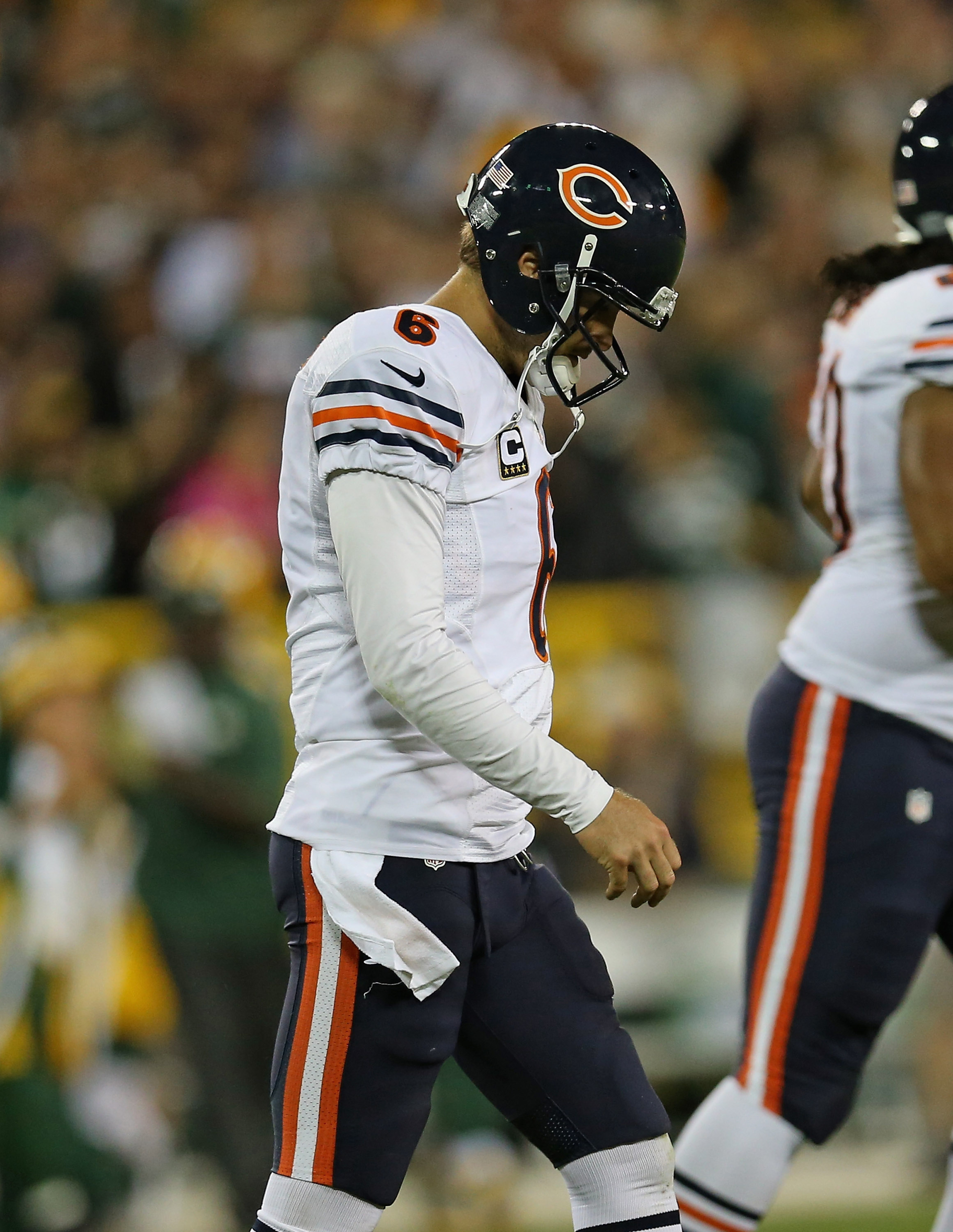 If you hum the Charlie Brown music, Jay Cutler really especially defeated.