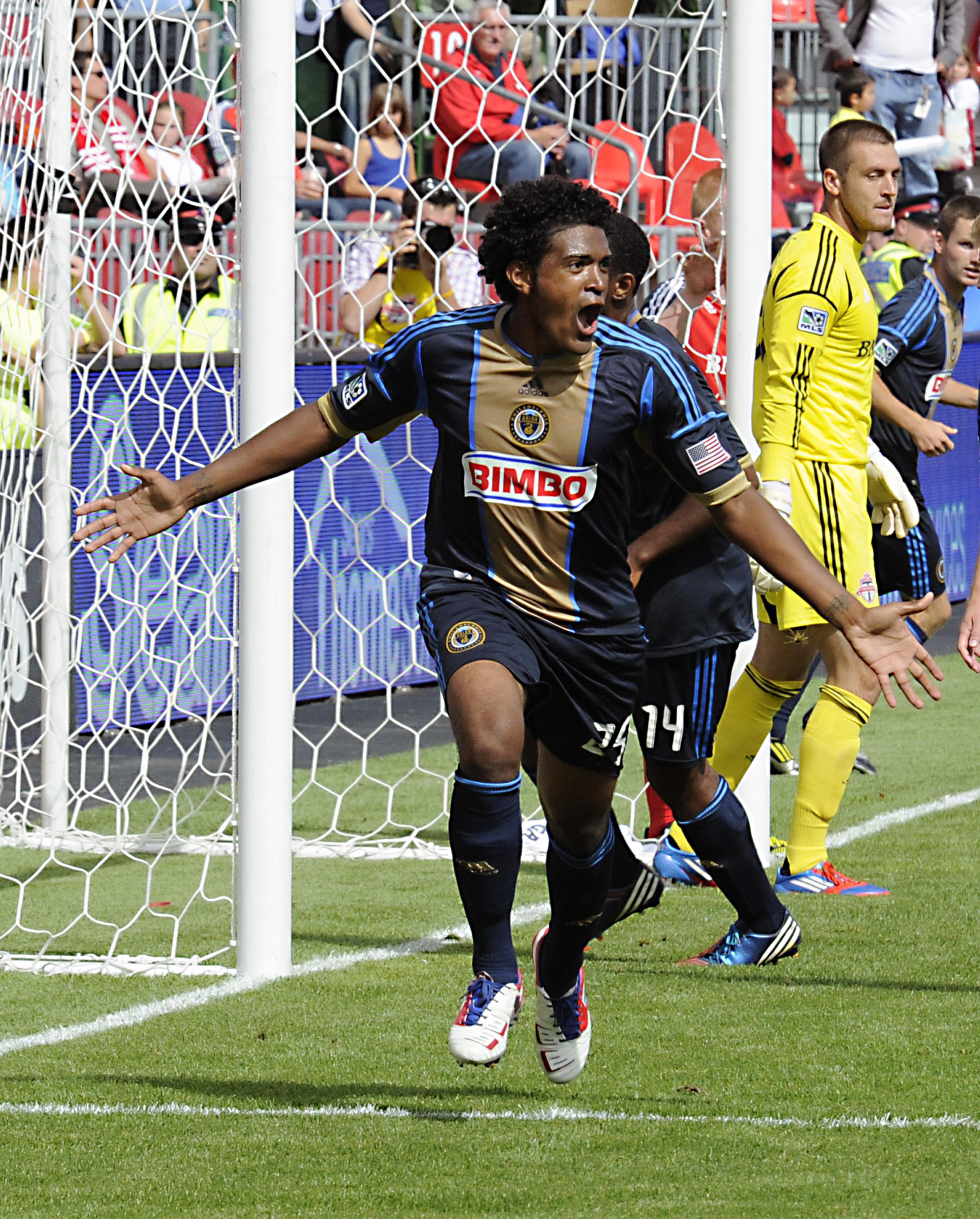 TORONTO, CANADA - SEPTEMBER 15: Sheanon Williams #25 of the Philadelphia Union celebrates his goal against Toronto FC during MLS action at the BMO Field September 15, 2012 in Toronto, Ontario, Canada.  (Photo by Abelimages/Getty Images)