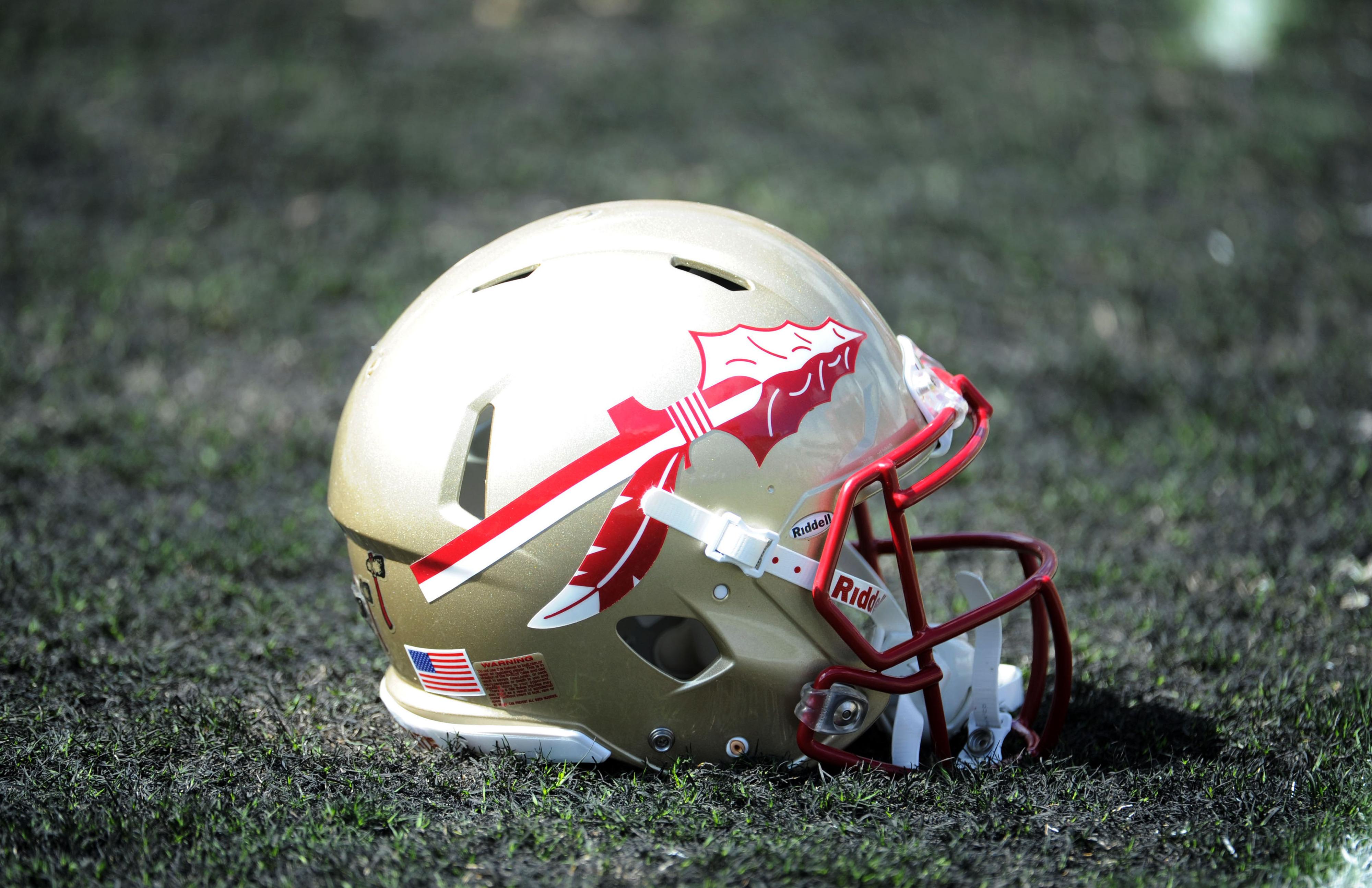 Sept 15, 2012;  Tallahassee, Florida, USA; Florida State Seminoles helmet before the game against the Wake Forest Demon Deacons at Doak Campbell Stadium. Mandatory Credit: Melina Vastola-US PRESSWIRE