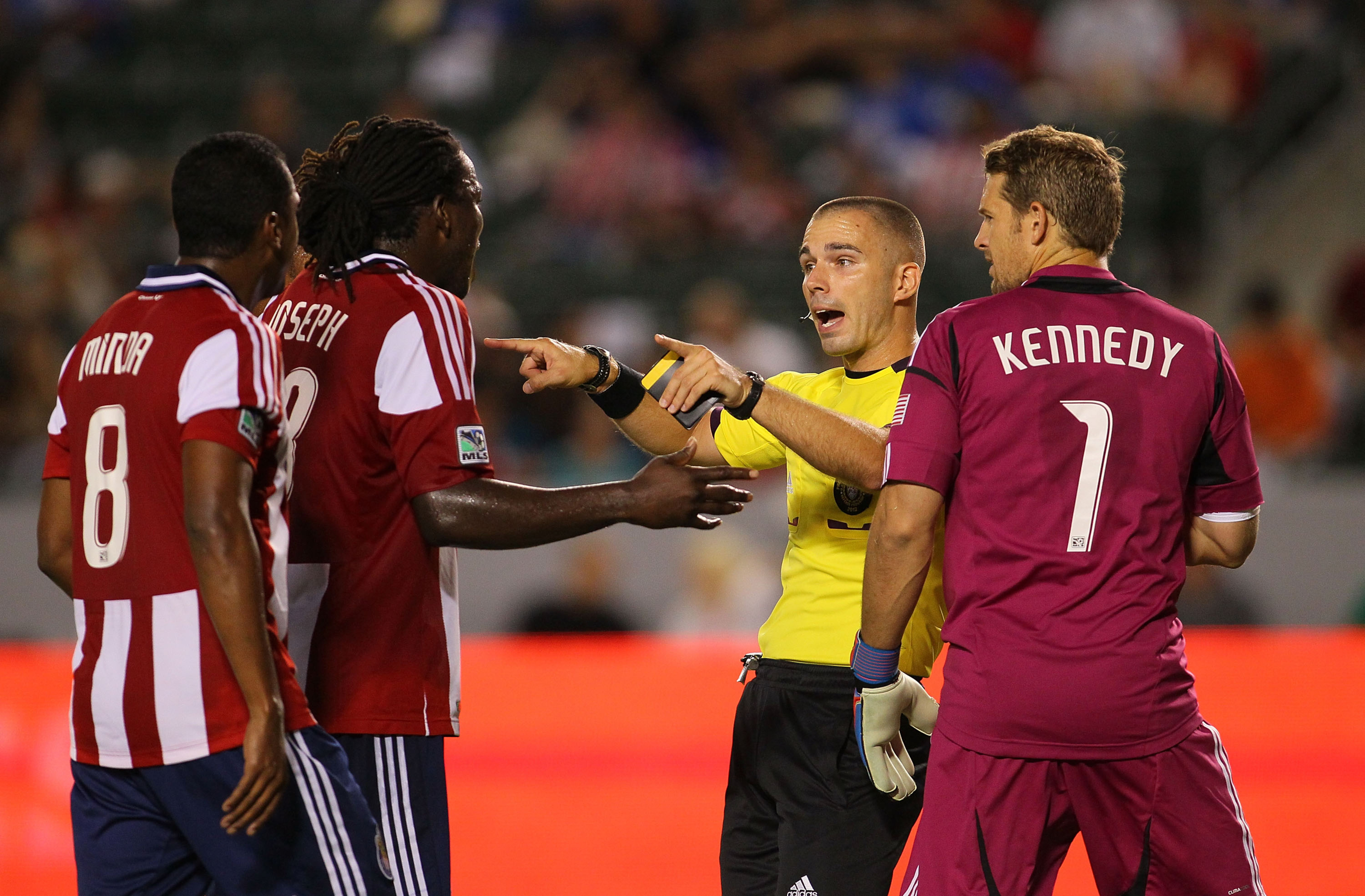 """CARSON, CA - :  Referee Chris Penso to Chivas USA """"You can do it! You just got to believe!"""" (Photo by Victor Decolongon/Getty Images)"""