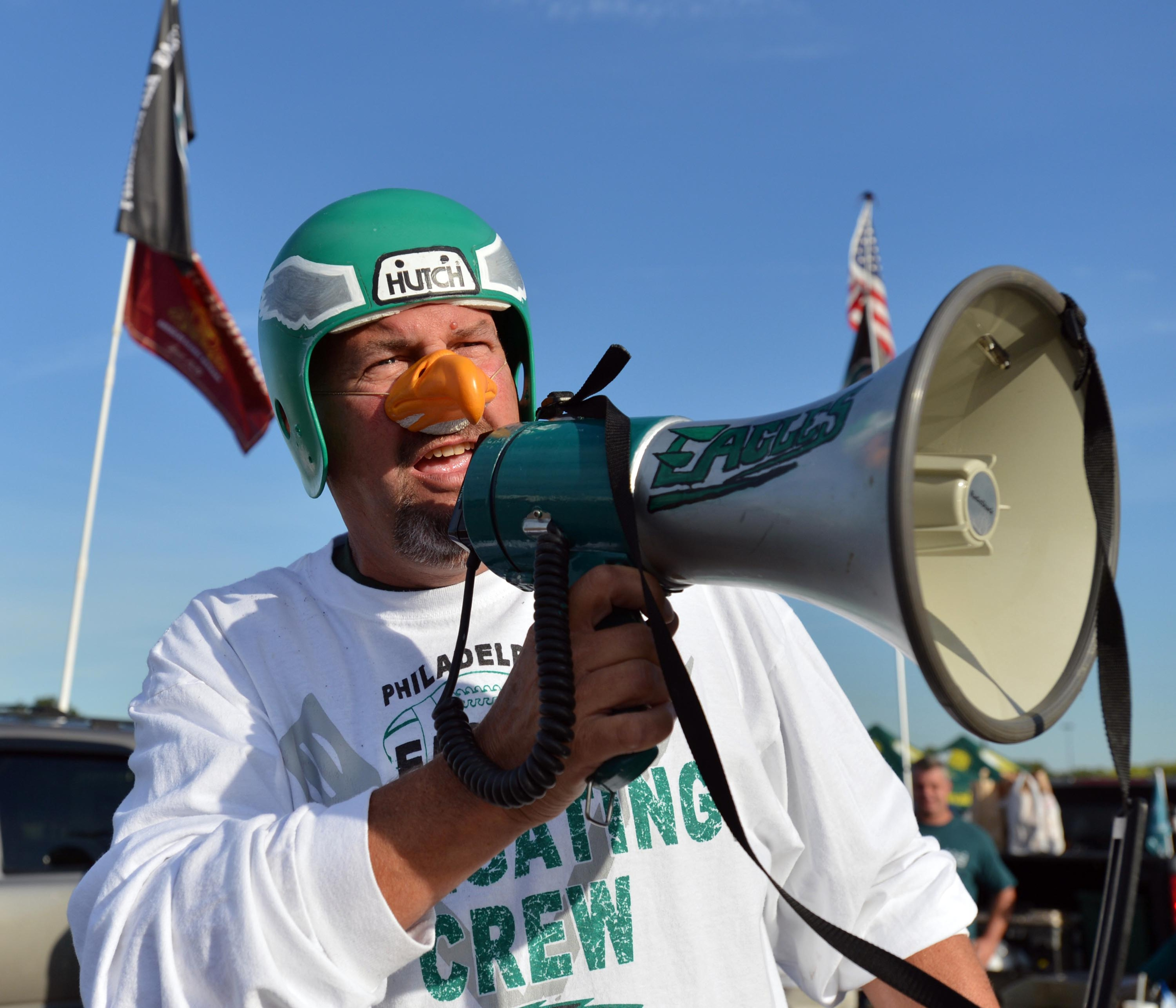 September 16, 2012; Philadelphia, PA, USA; Philadelphia Eagles fan Dave Scofield cheers for the Eagles before the game against the Baltimore Ravens at Lincoln Financial Field. Mandatory Credit: Jeffrey G. Pittenger
