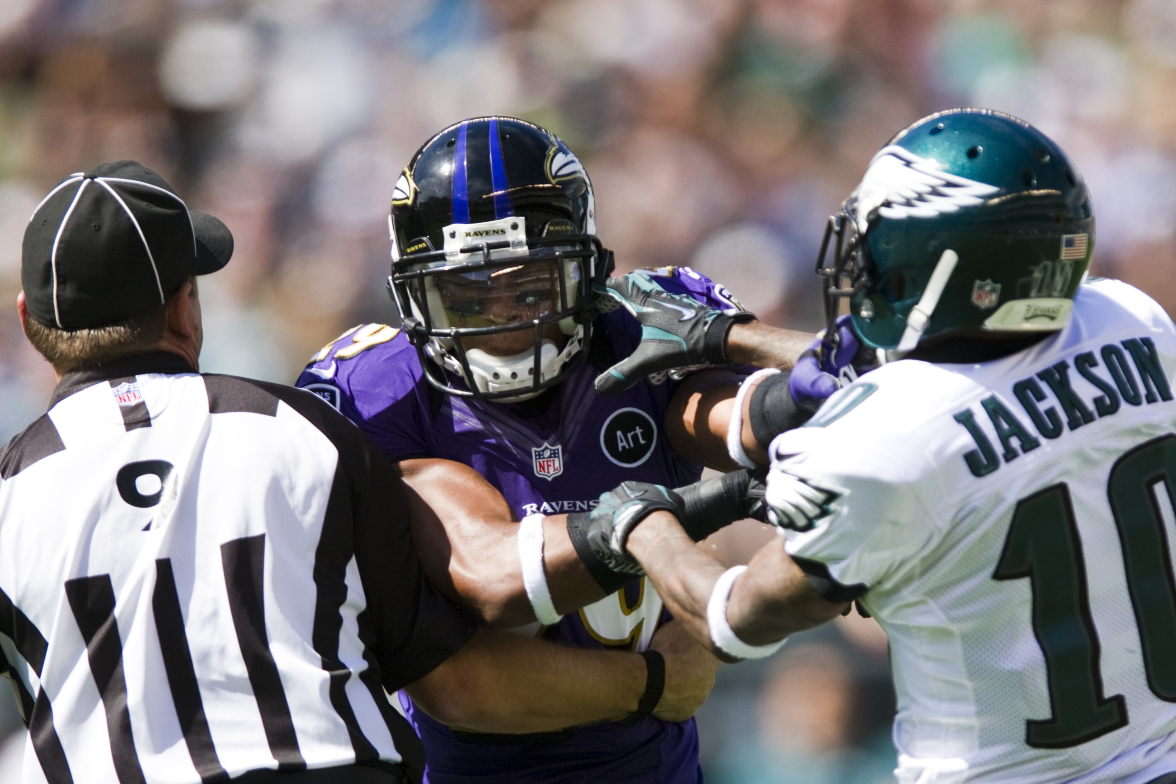 Sep 16, 2012; Philadelphia, PA, USA; Baltimore Ravens cornerback Cary Williams (29) and Philadelphia Eagles wide receiver DeSean Jackson (10) scrap during the second quarter at Lincoln Financial Field. Mandatory Credit: Howard Smith-US PRESSWIRE