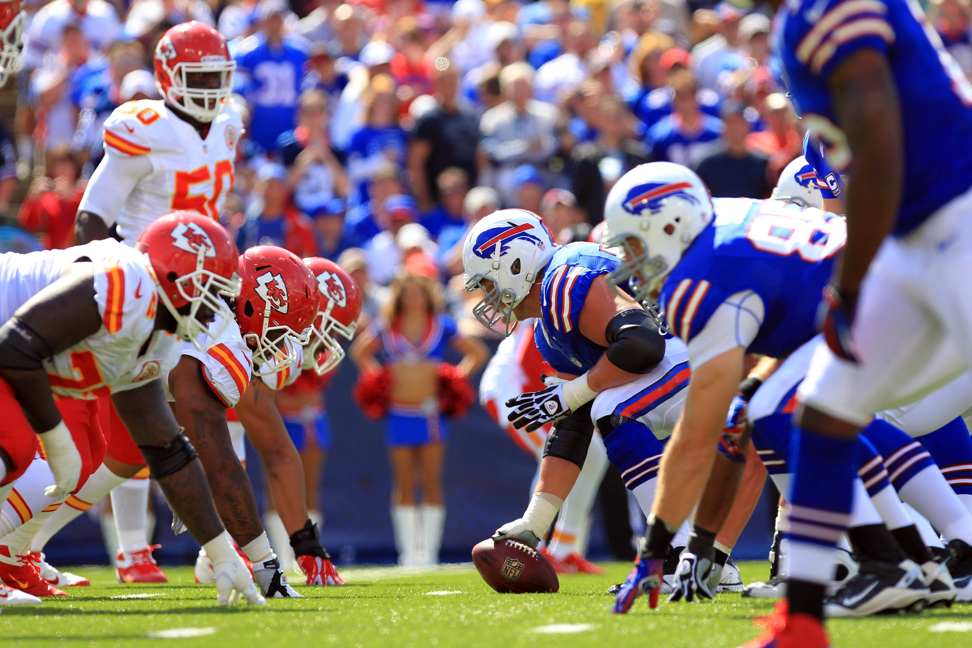 Sep 16, 2012; Orchard Park, NY, USA; The Kansas City Chiefs defense lines up against the Buffalo Bills offense during the first quarter at Ralph Wilson Stadium. Mandatory Credit: Kevin Hoffman-US PRESSWIRE
