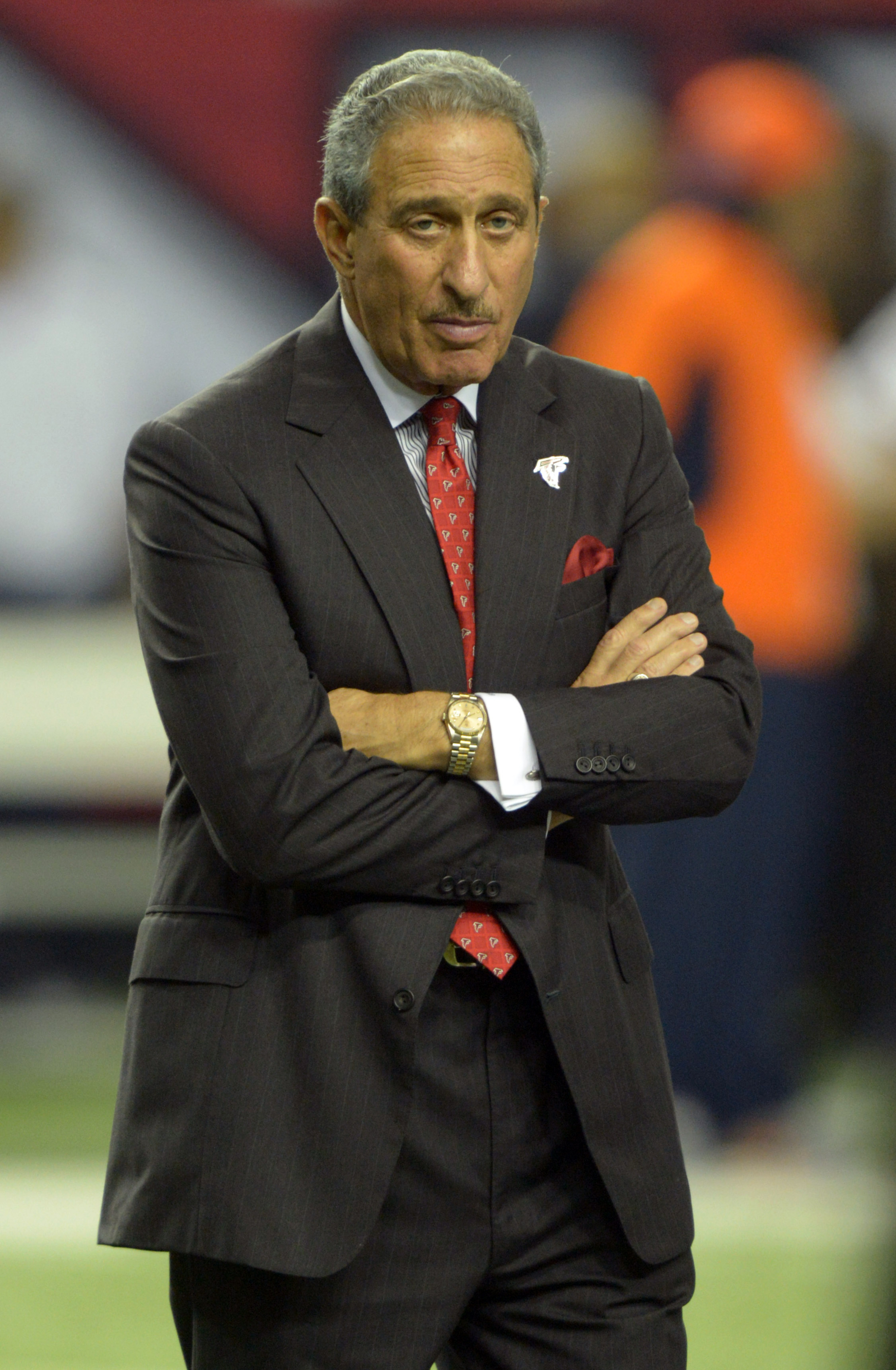 Sep 17, 2012; Atlanta, GA, USA; Atlanta Falcons owner Arthur Blank attends the game against the Denver Broncos at the Georgia Dome. The Falcons defeated the Broncos 27-21. Mandatory Credit: Kirby Lee/Image of Sport-US PRESSWIRE
