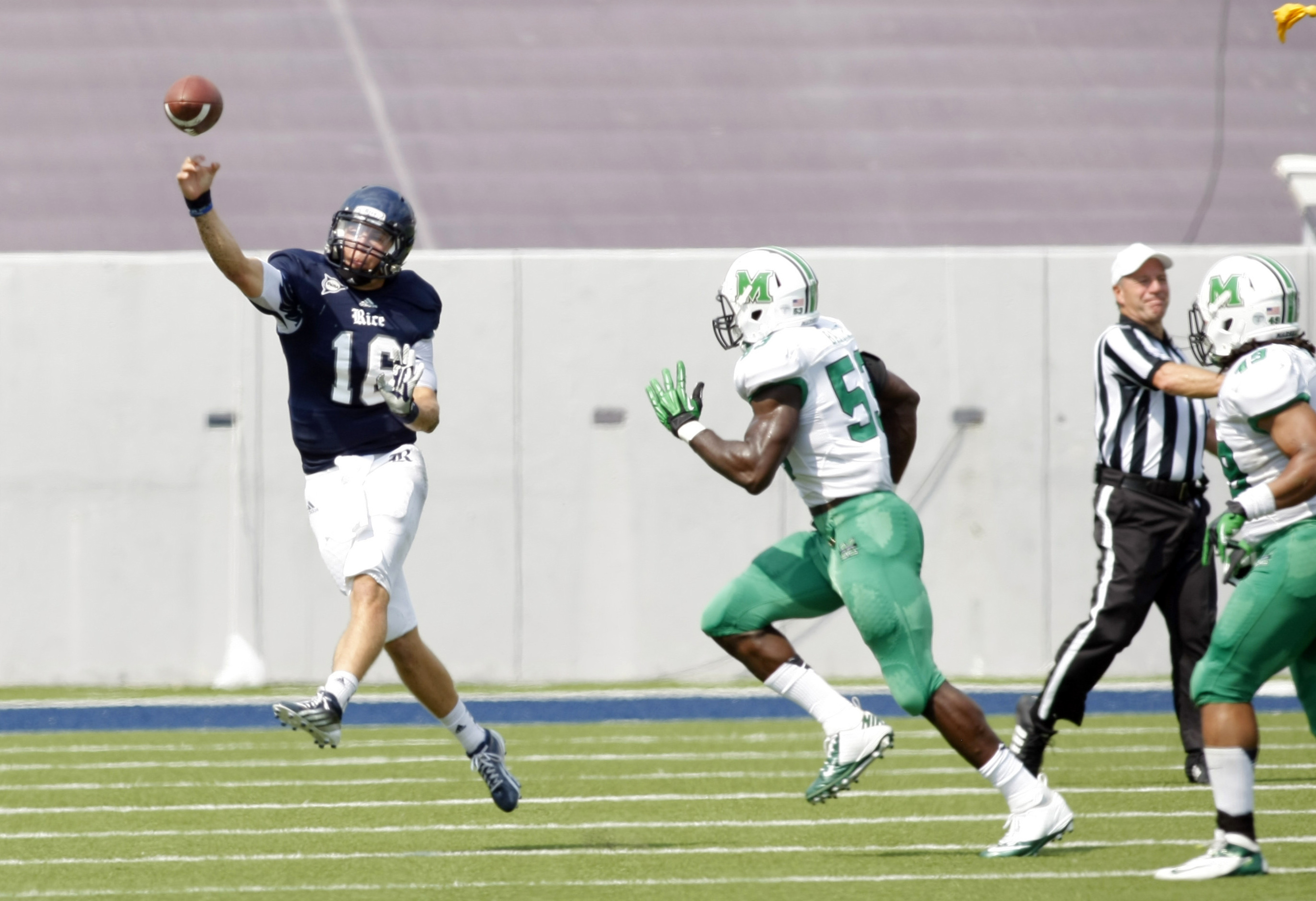 Sep 22, 2012; College Station, TX, USA; Rice Owls quarterback Taylor McHargue (16) throws a pass against the Marshall Thundering Herd in the first quarter at Rice Stadium. Mandatory Credit: Brett Davis-US PRESSWIRE