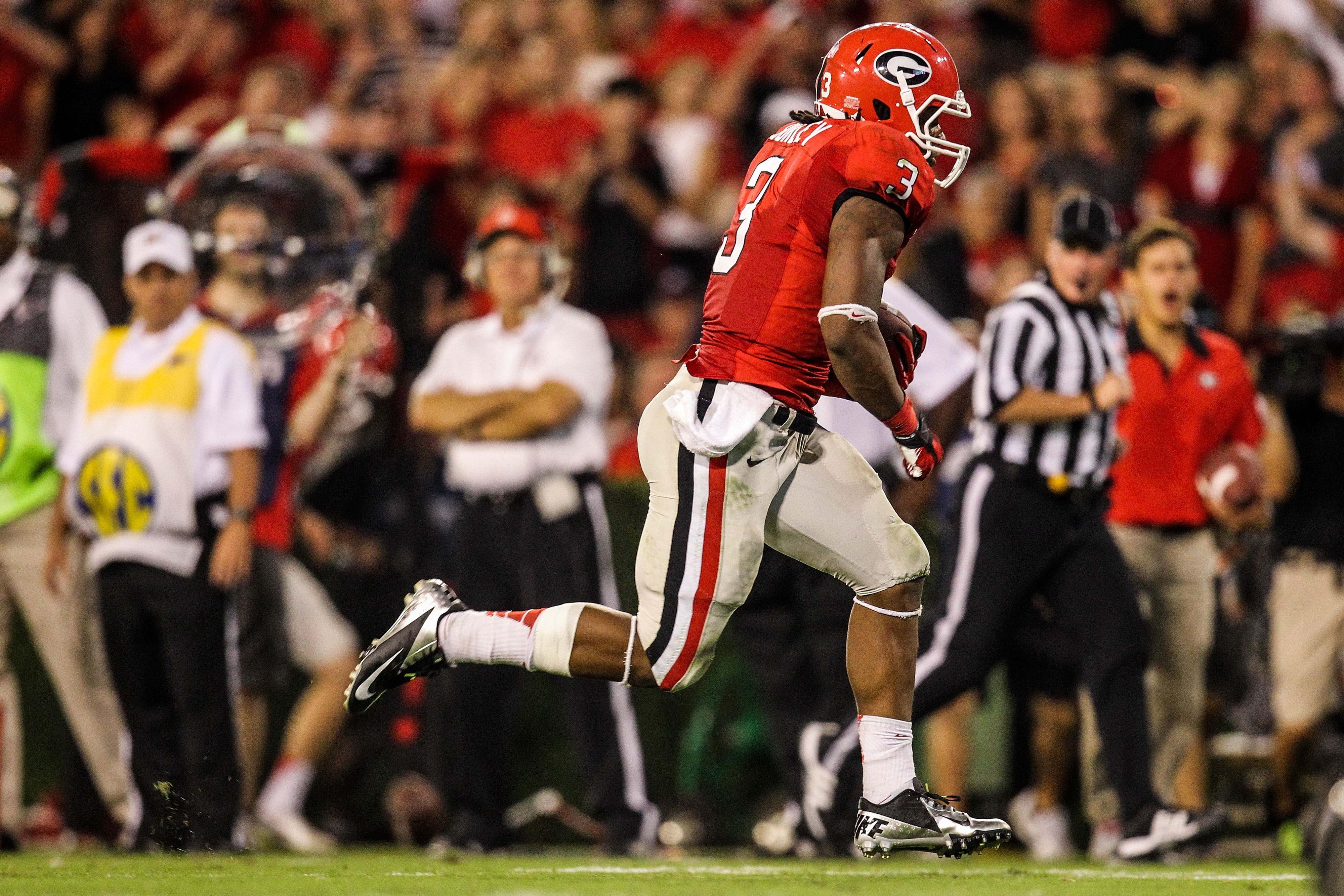 September 22, 2012; Athens, GA, USA; Georgia Bulldogs running back Todd Gurley (3) scores a touchdown in the second half against the Vanderbilt Commodores at Sanford Stadium. Georgia won 48-3. Mandatory Credit: Daniel Shirey-US PRESSWIRE