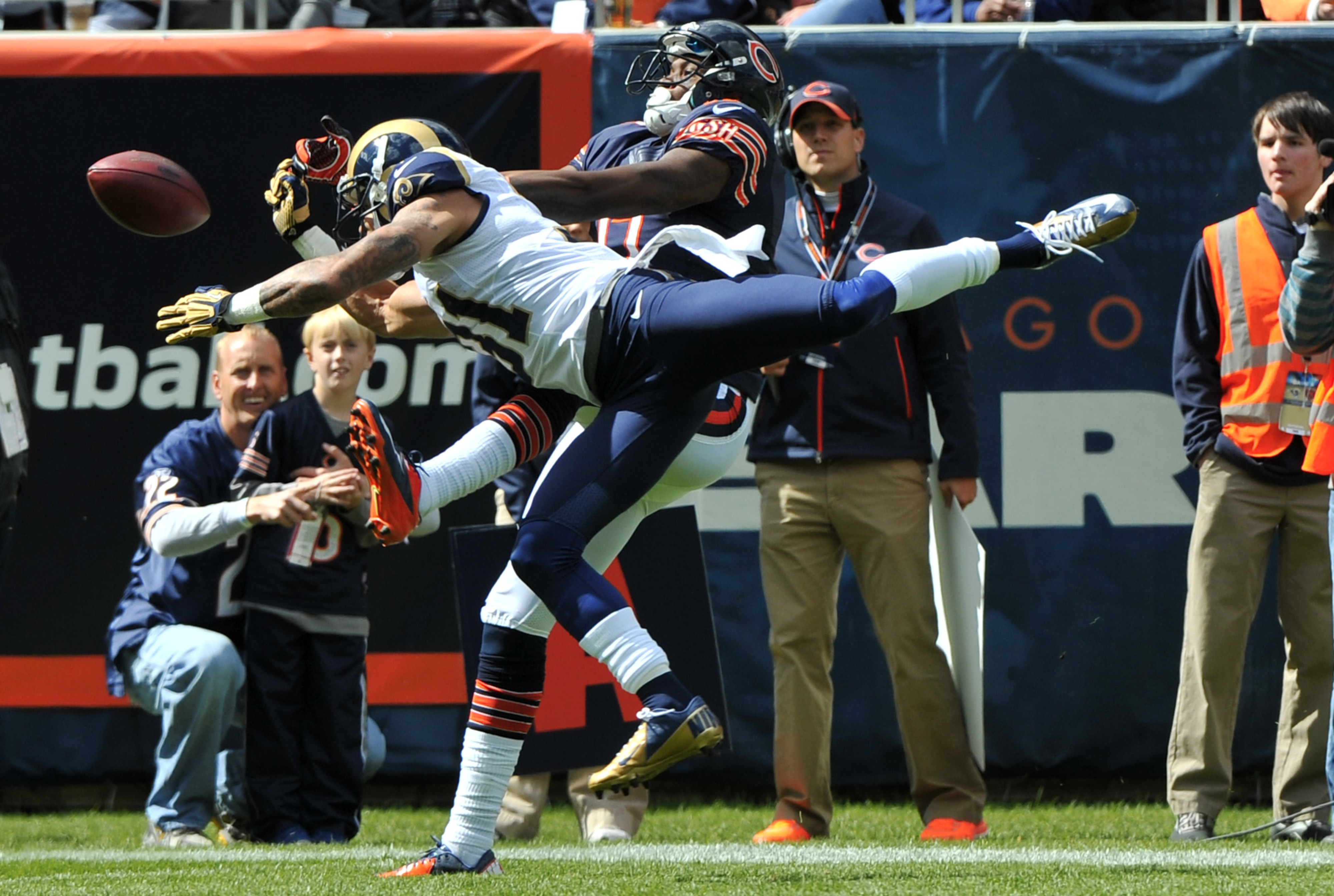 Sep 23, 2012; Chicago, IL, USA; St. Louis Rams cornerback Cortland Finnegan (31) breaks up a pass intended for Chicago Bears wide receiver Alshon Jeffery (17) during the first quarter at Soldier Field.  Mandatory Credit: Rob Grabowski-US PRESSWIRE