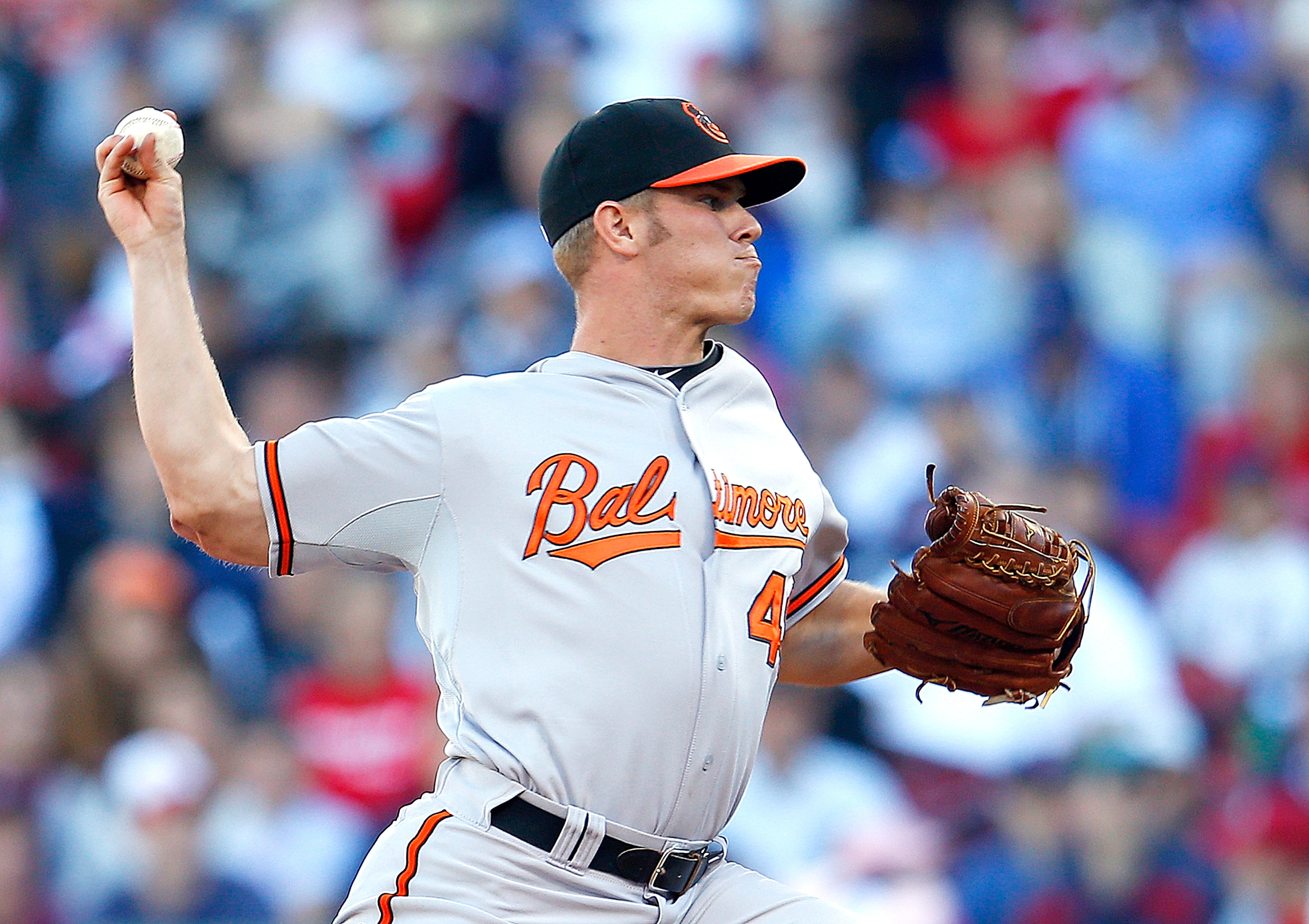 For no reason, here is a picture of Dylan Bundy throwing a pitch.  (Photo by Jim Rogash/Getty Images)