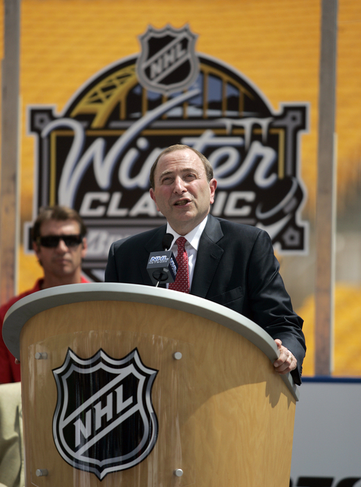 PITTSBURGH - JULY 27:  NHL Commissioner Gary Bettman addresses the media at the 2011 Bridgestone NHL Winter Classic press conference on July 27 2010 at Heinz Field in Pittsburgh Pennsylvania.  (Photo by Justin K. Aller/Getty Images)