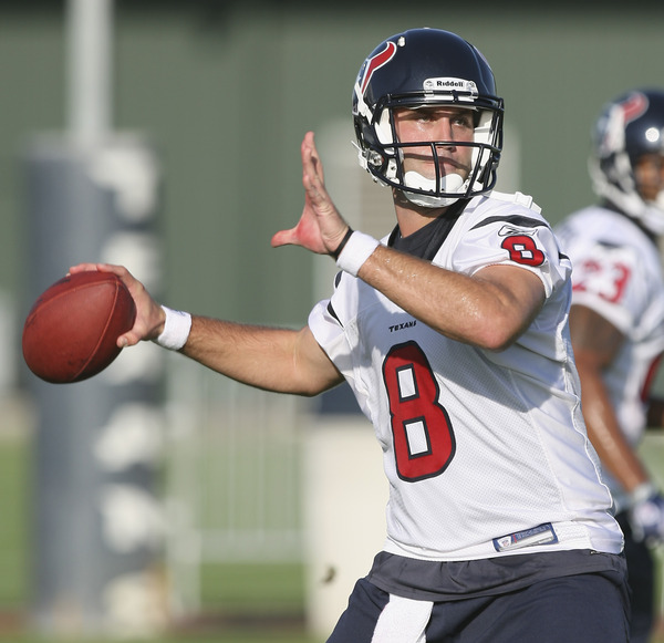HOUSTON - JULY 30:  Quarterback Matt Schaub #8 of the Houston Texans participates in the team's first NFL traiing camp practice of the season at Reliant Park on July 30 2010 in Houston Texas.  (Photo by Bob Levey/Getty Images)