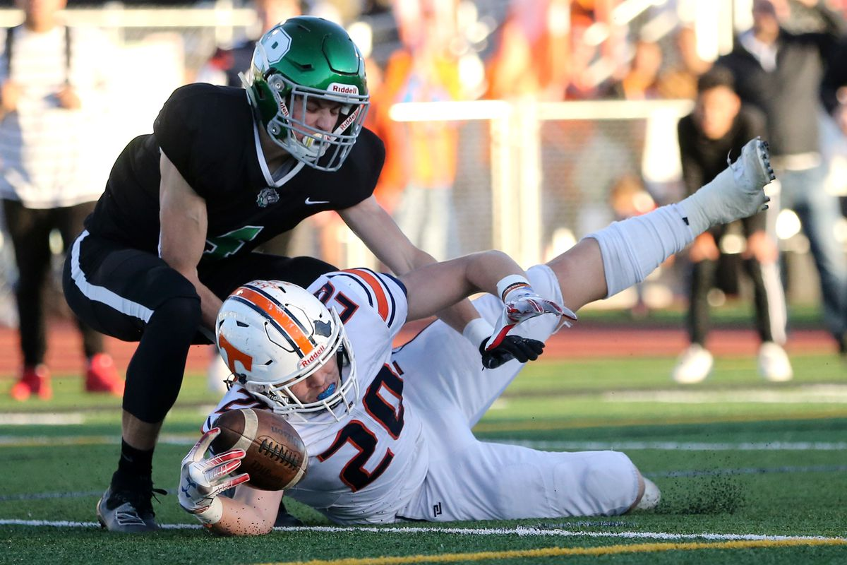 Timpview's Carsen Ryan dives into the end zone with Provo's Taylor Heiner as the two teams play in quarterfinal football action in Provo on Friday, Nov. 8, 2019. Timpview won 26-7.