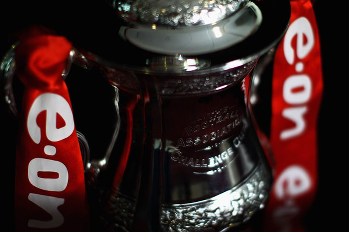 LONDON ENGLAND - FEBRUARY 16:  A detailed view of the FA Cup sponsored by Eon at the Leyton Orient FA Cup Media Day at Matchroom Stadium on February 16 2011 in London England.  (Photo by Dean Mouhtaropoulos/Getty Images)