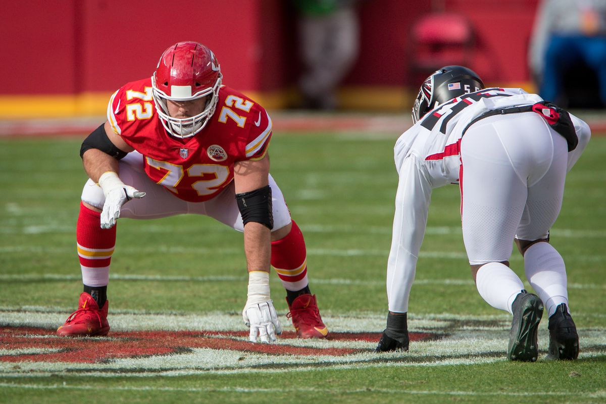 Kansas City Chiefs offensive tackle Eric Fisher (72) lines up for a play against the Atlanta Falcons at Arrowhead Stadium in Kansas City, Missouri.