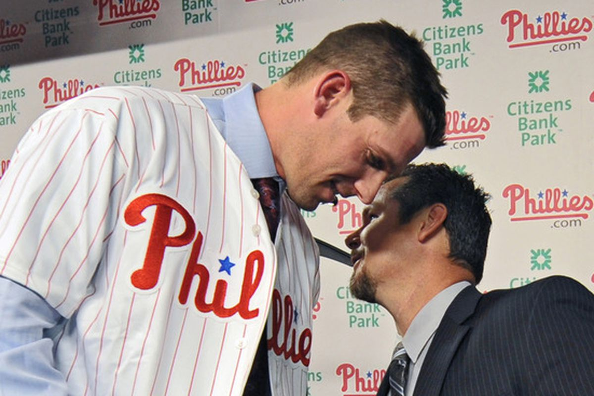 """Cliff Lee whispers, """"please draft me"""" into Mitch Williams's ear."""