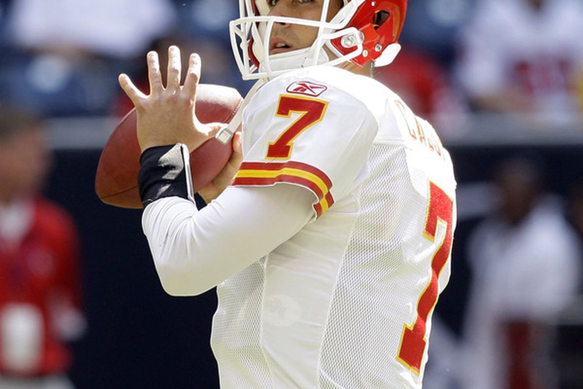 HOUSTON - OCTOBER 17:  Quarterback Matt Cassel #7 of the Kansas City Chiefs throws passes during warm ups before playing the Houston Texans at Reliant Stadium on October 17 2010 in Houston Texas.  (Photo by Bob Levey/Getty Images)