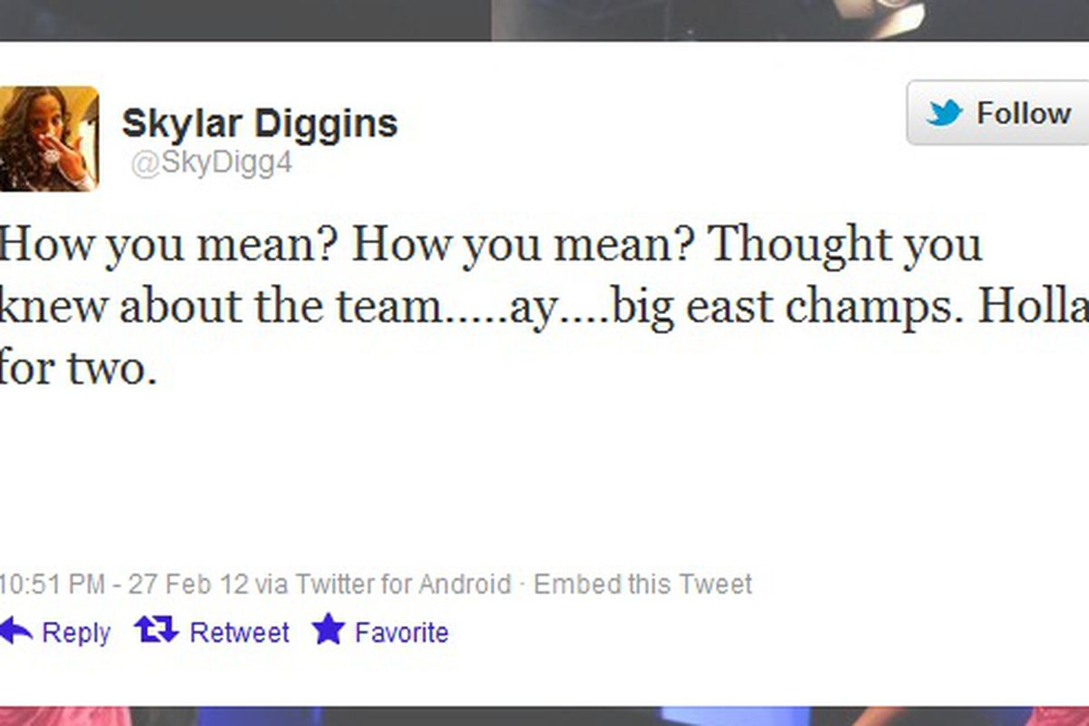 Skylar Diggins tweets after beating UConn for the outright BIG EAST title