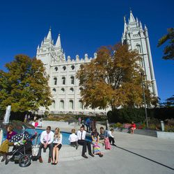 Those not able to get into the Conference Center listen to the talks on Temple Square. Morning session of the 183rd Semiannual General Conference for the Church of Jesus Christ of Latter-day Saints Sunday, Oct. 6, 2013.