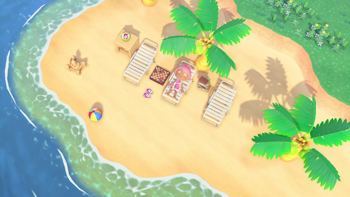 An Animal Crossing character laying on a beach chair.